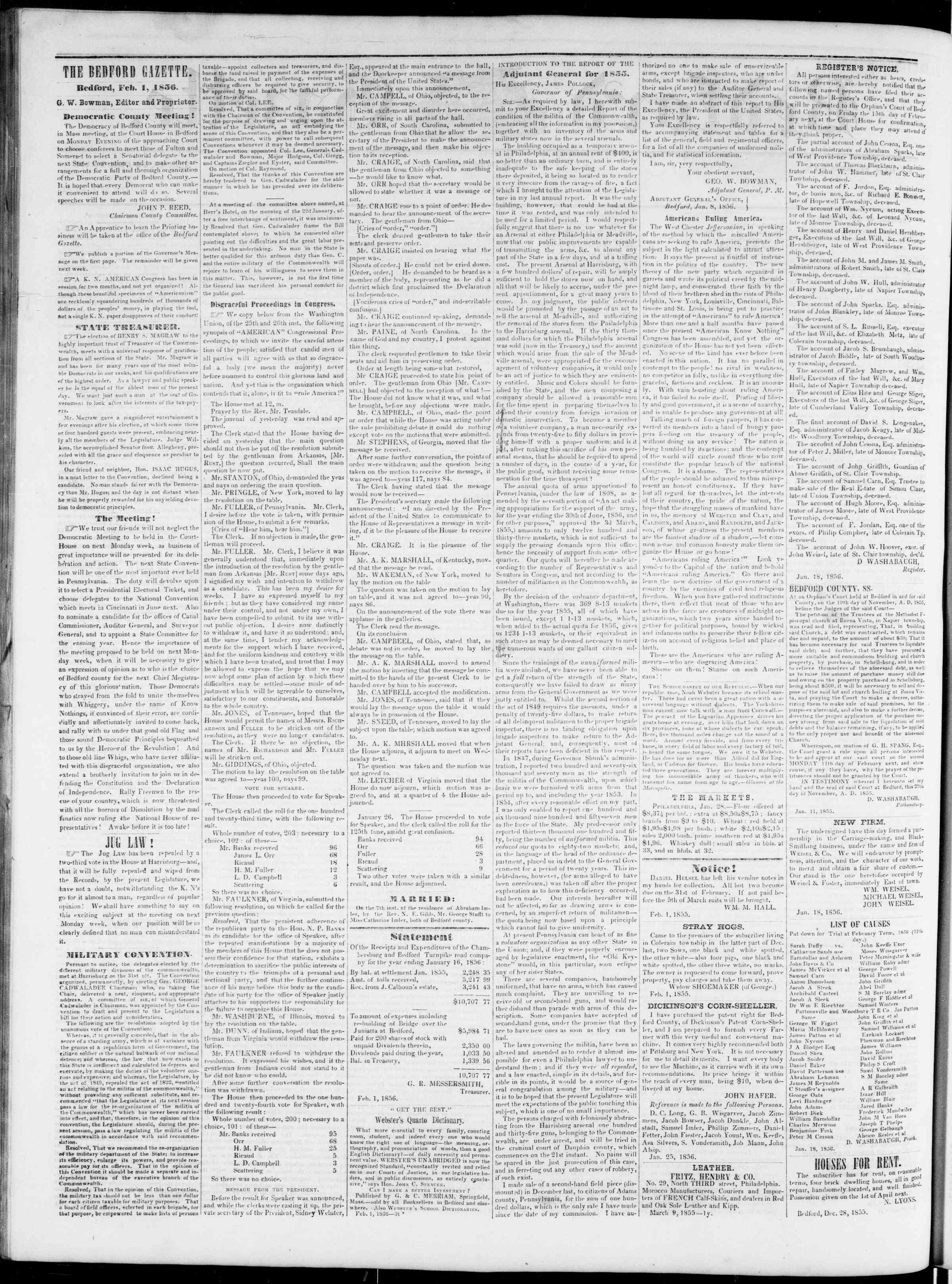 Newspaper of Bedford Gazette dated February 1, 1856 Page 2