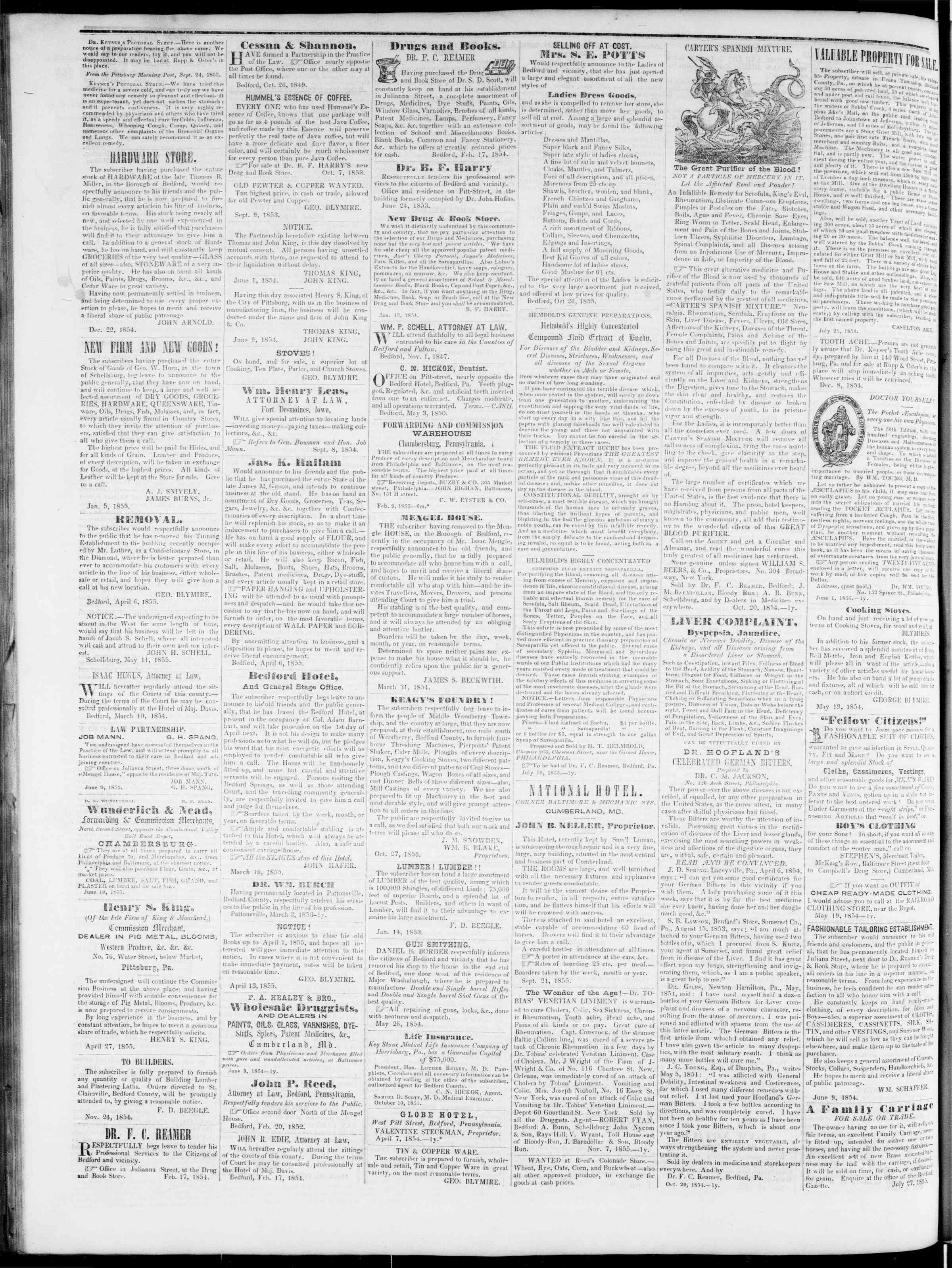 Newspaper of Bedford Gazette dated February 1, 1856 Page 4