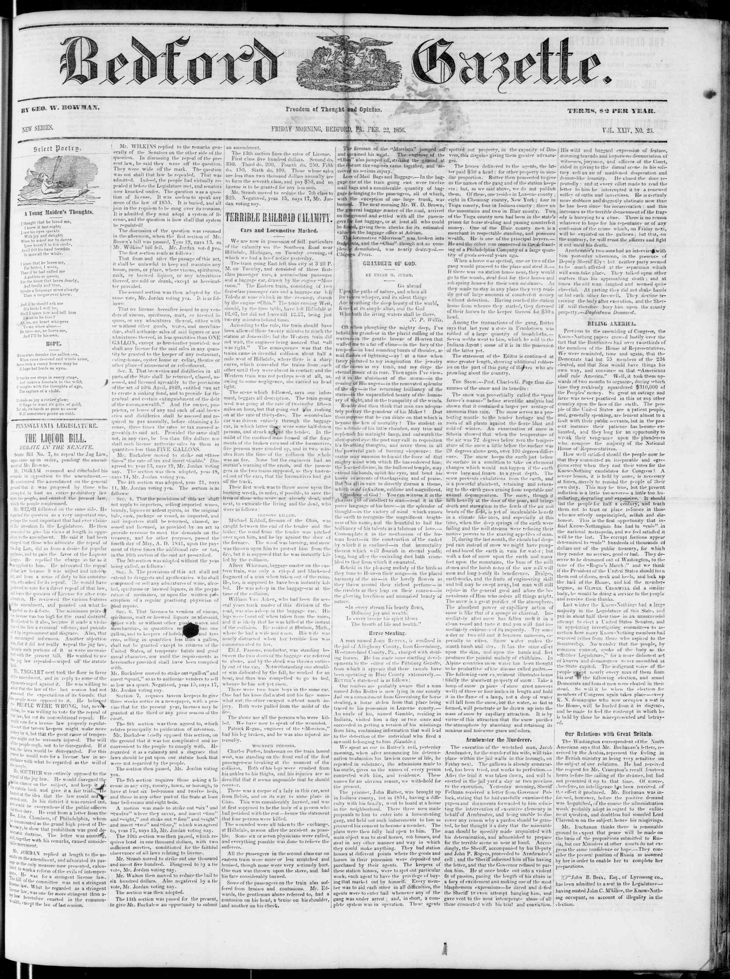 Newspaper of Bedford Gazette dated February 22, 1856 Page 1