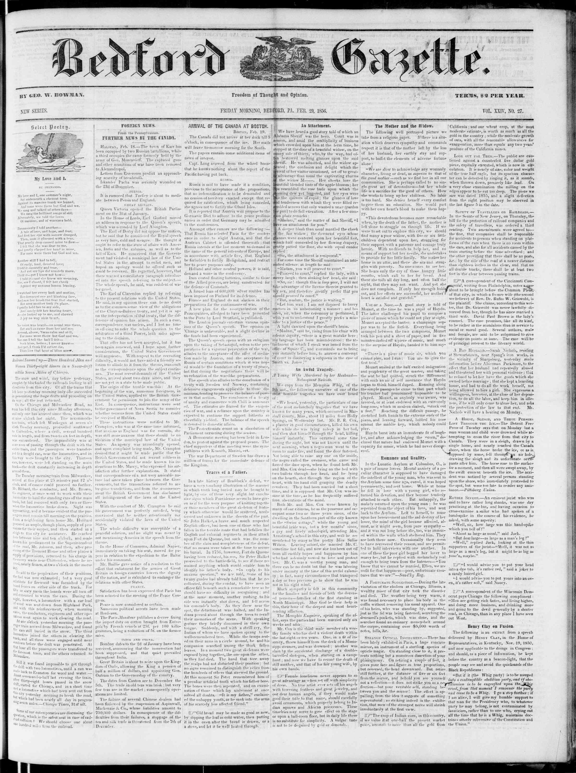 Newspaper of Bedford Gazette dated February 29, 1856 Page 1