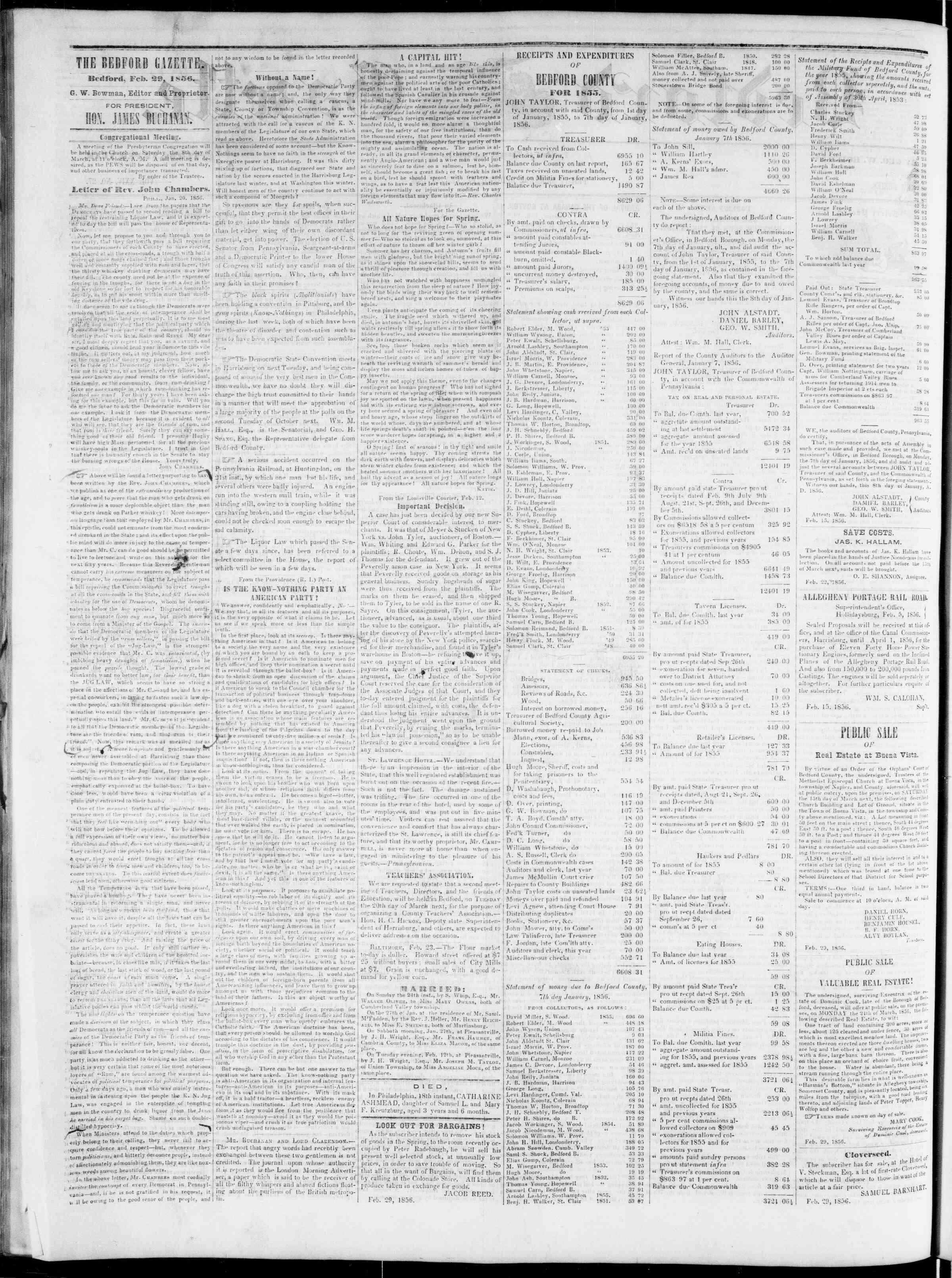 Newspaper of Bedford Gazette dated February 29, 1856 Page 2