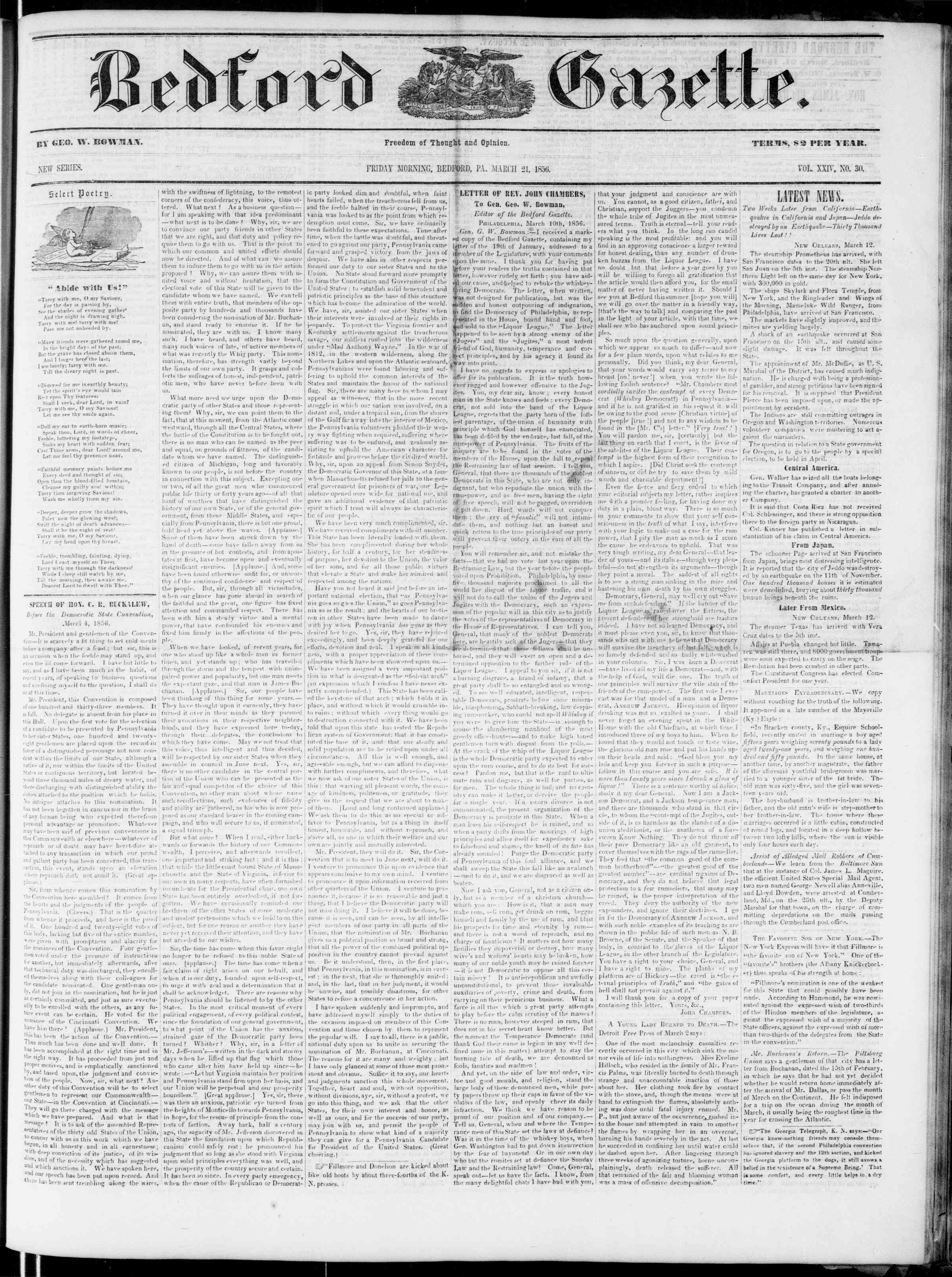 Newspaper of Bedford Gazette dated March 21, 1856 Page 1