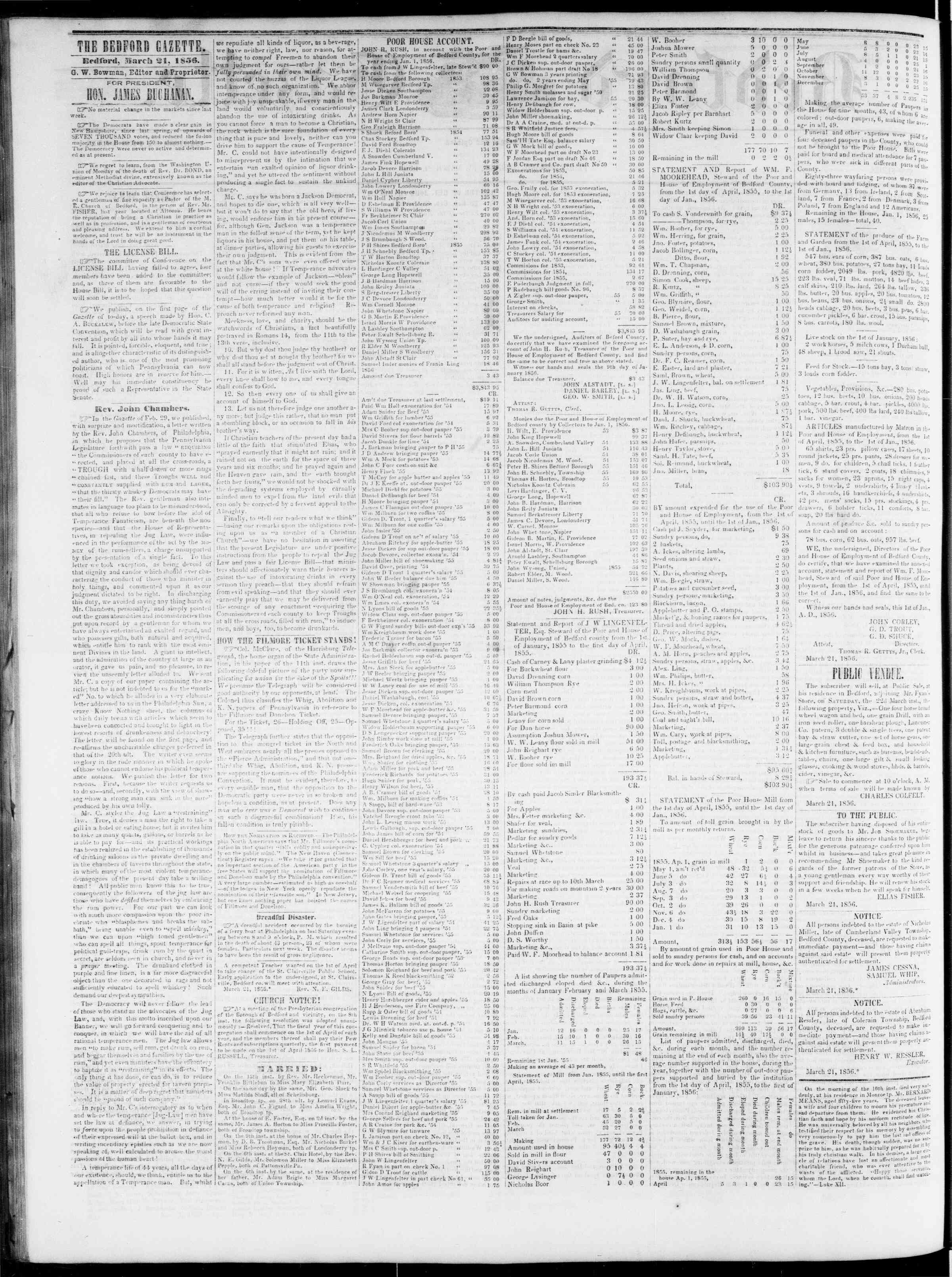 Newspaper of Bedford Gazette dated March 21, 1856 Page 2