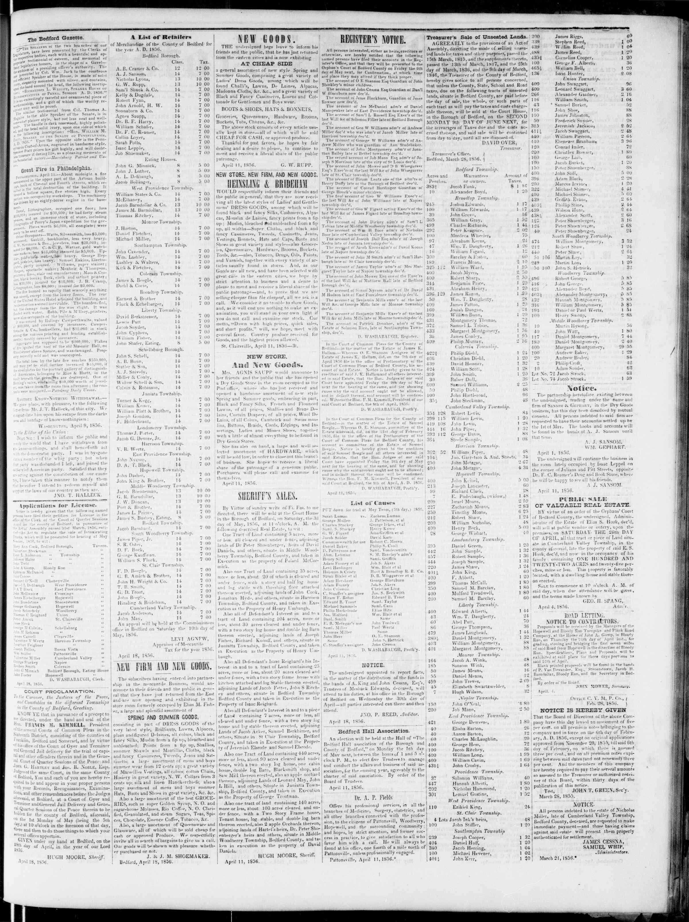 Newspaper of Bedford Gazette dated April 18, 1856 Page 3