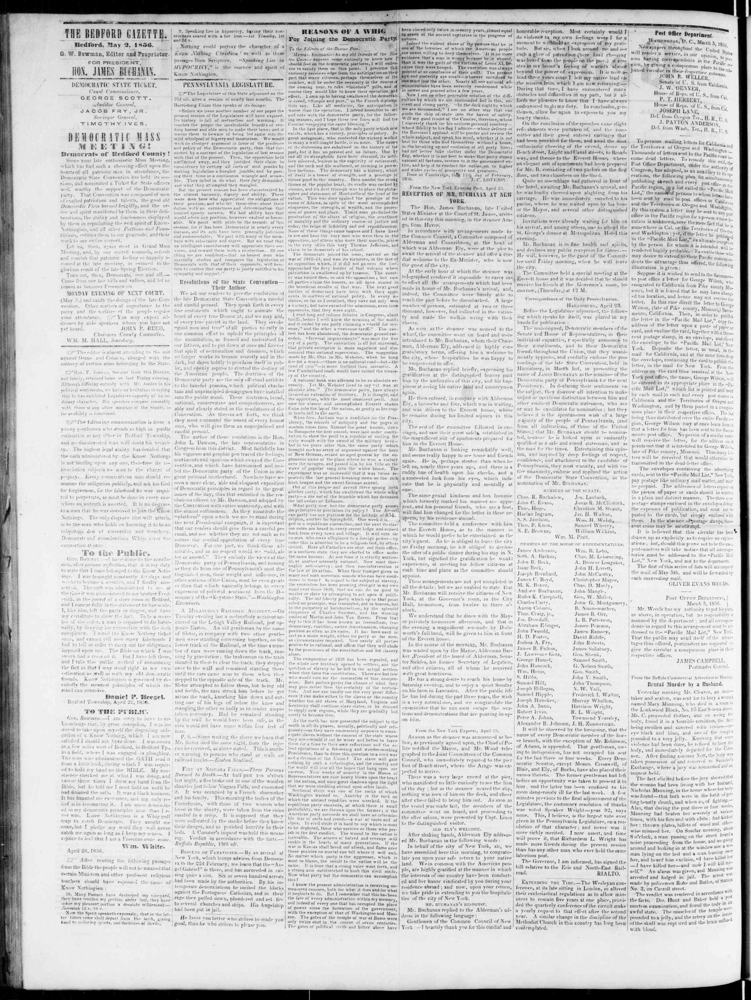 Newspaper of Bedford Gazette dated 2 Mayıs 1856 Page 2