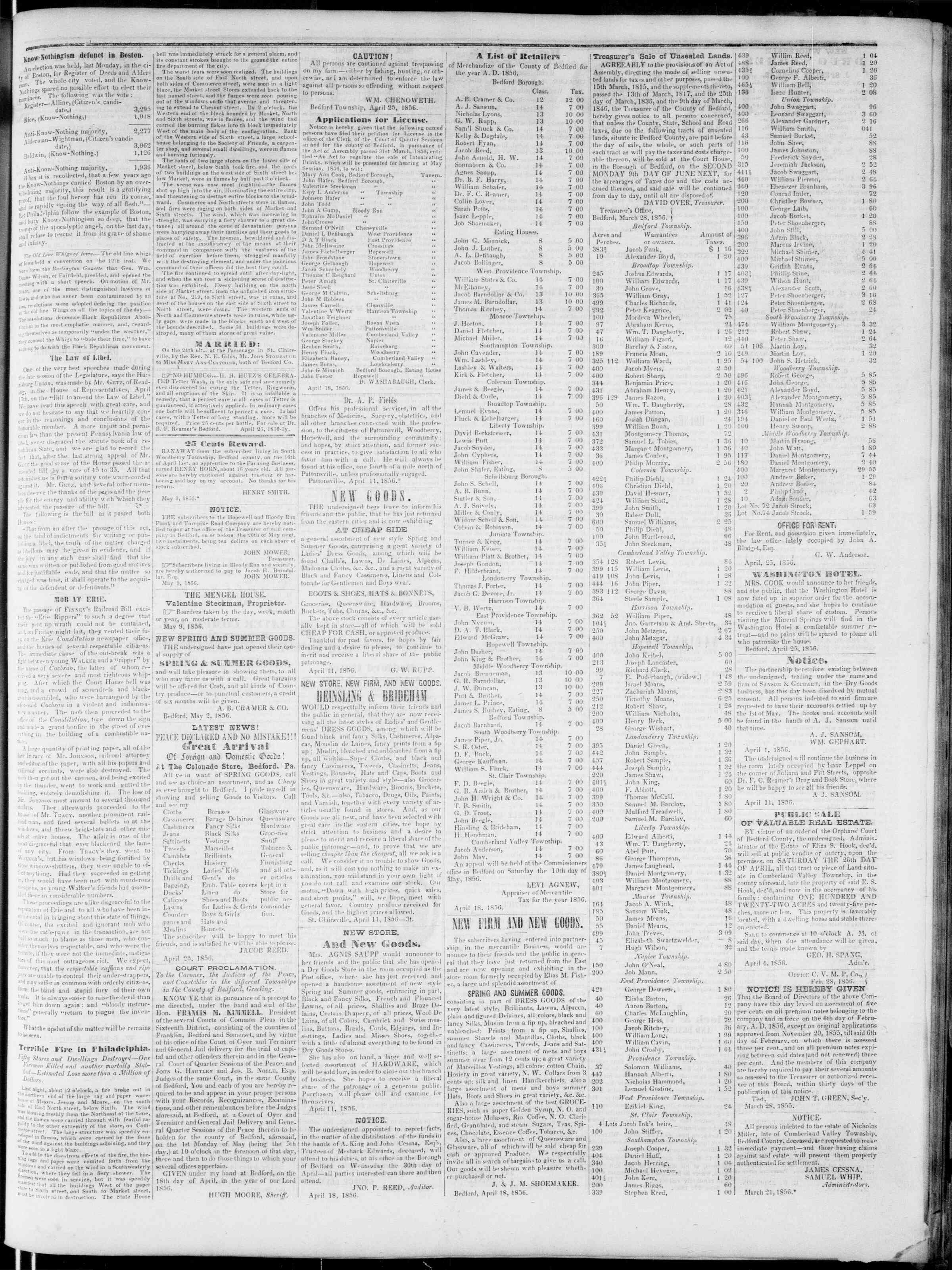 Newspaper of Bedford Gazette dated May 9, 1856 Page 3