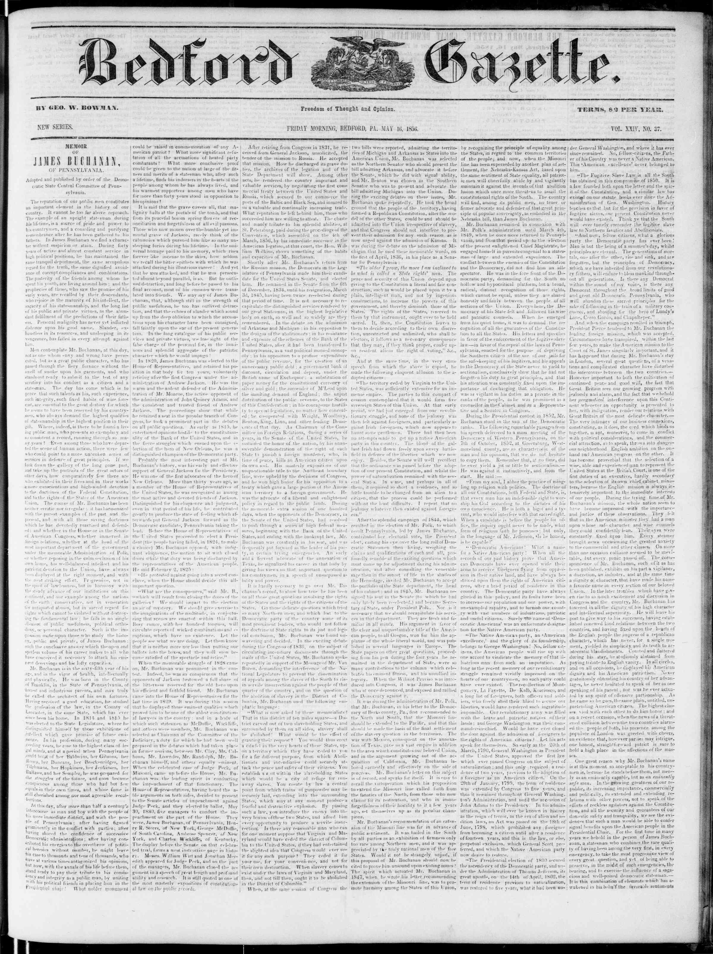 Newspaper of Bedford Gazette dated May 16, 1856 Page 1