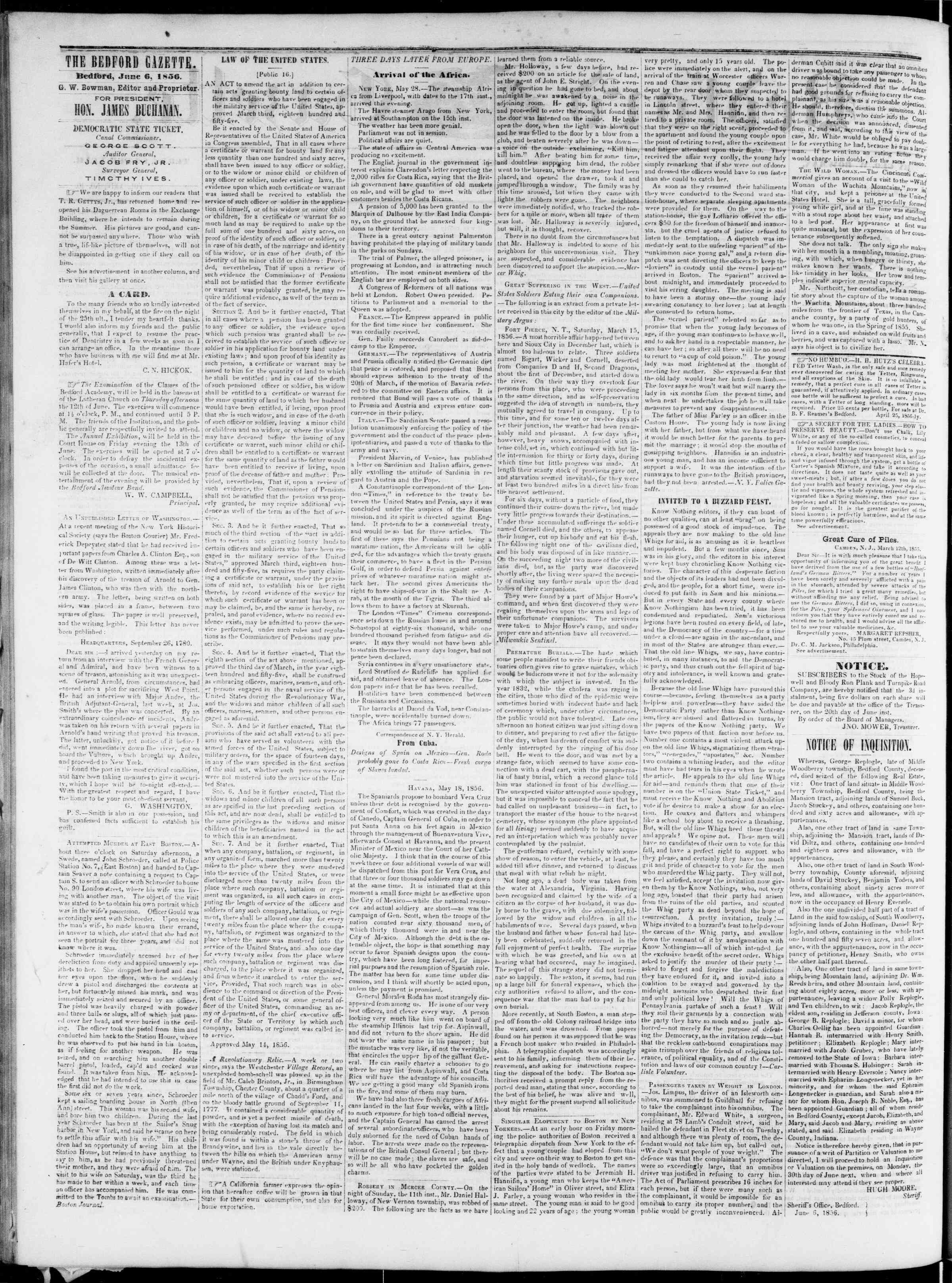 Newspaper of Bedford Gazette dated June 6, 1856 Page 2