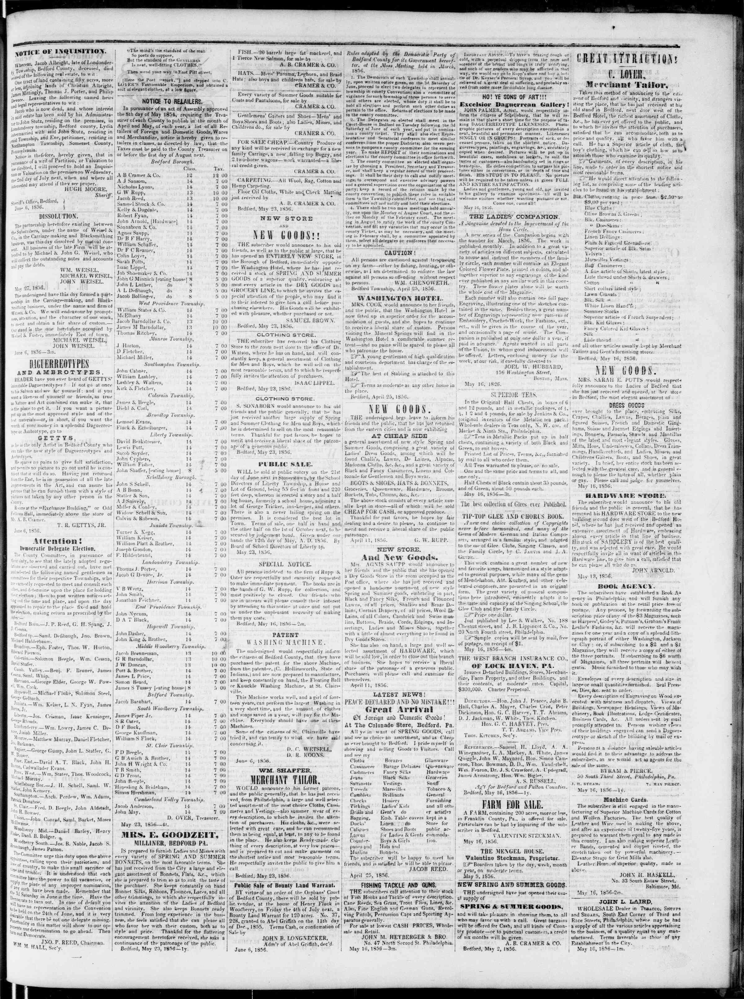 Newspaper of Bedford Gazette dated June 6, 1856 Page 3