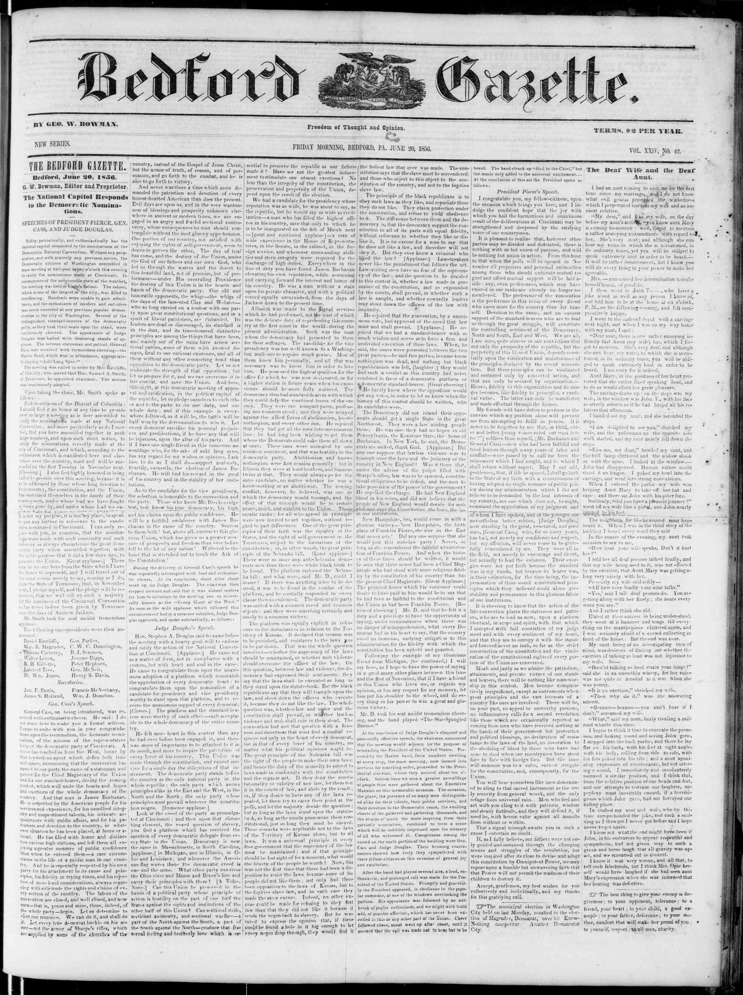 20 Haziran 1856 tarihli Bedford Gazette Gazetesi Sayfa 1