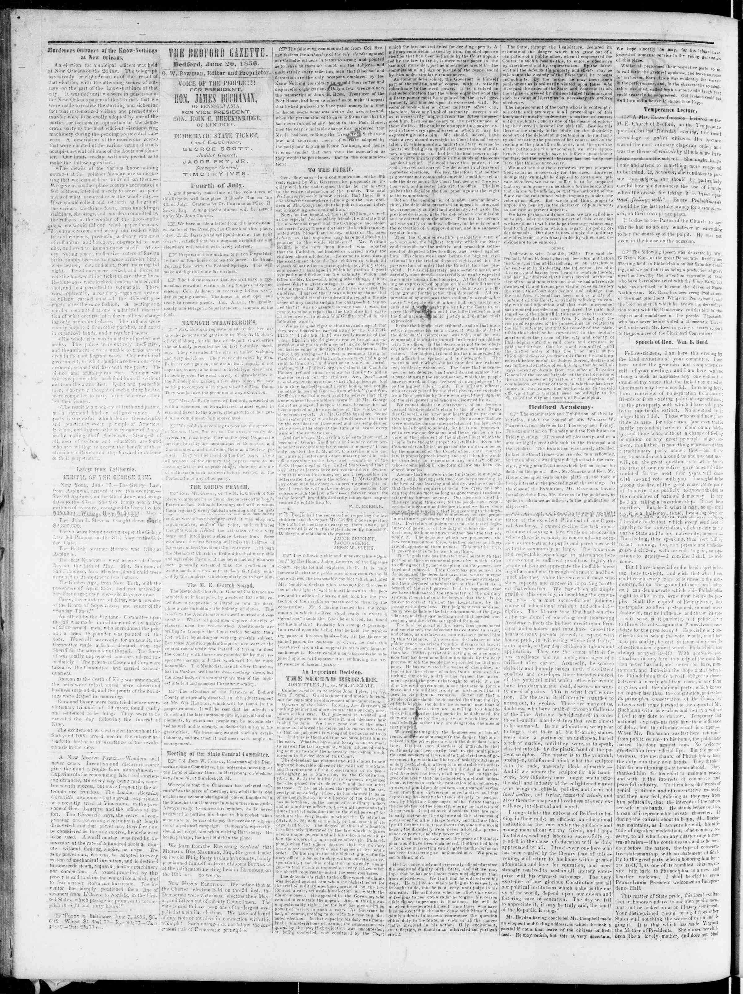 Newspaper of Bedford Gazette dated June 20, 1856 Page 2