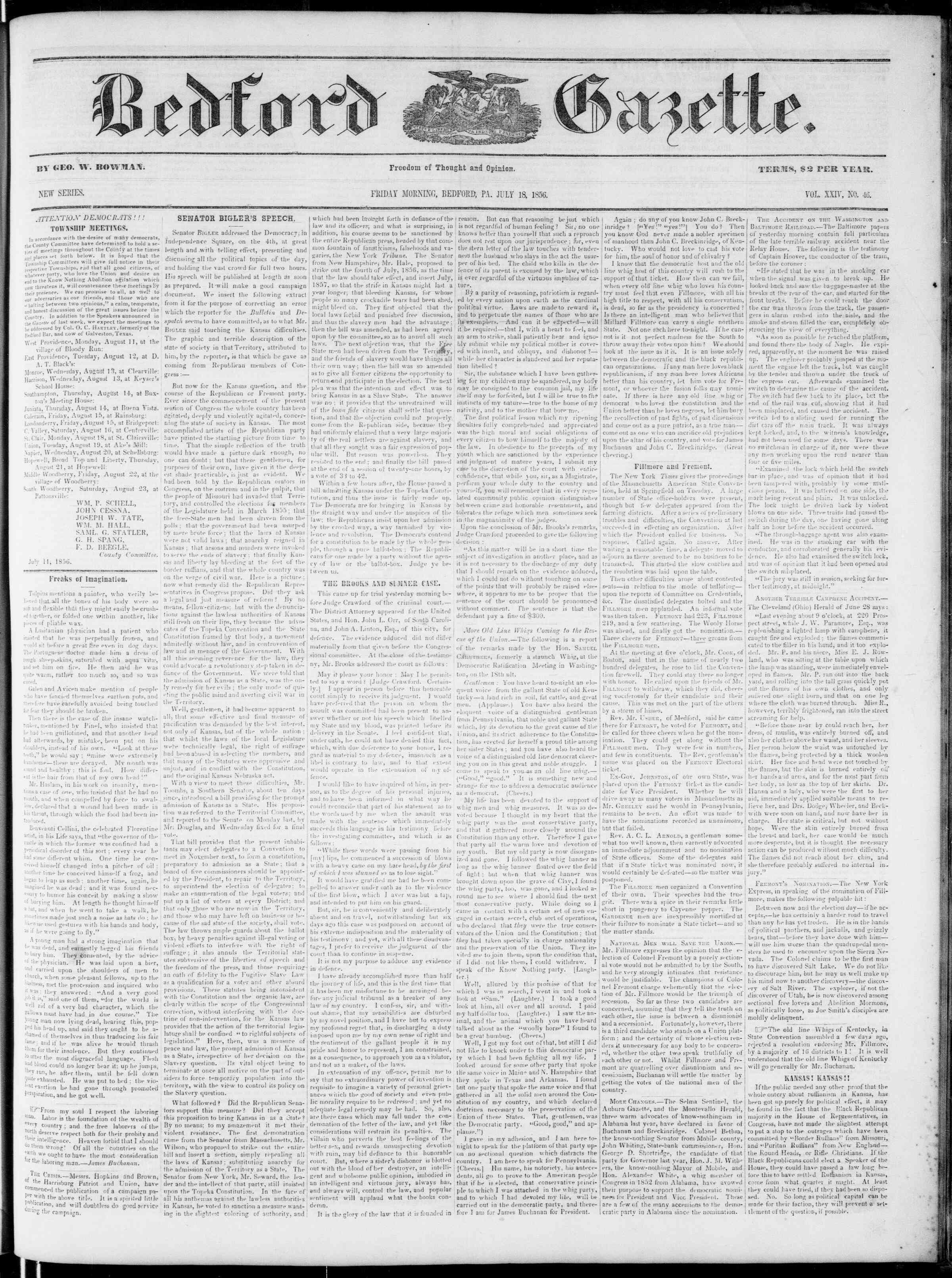 Newspaper of Bedford Gazette dated July 18, 1856 Page 1