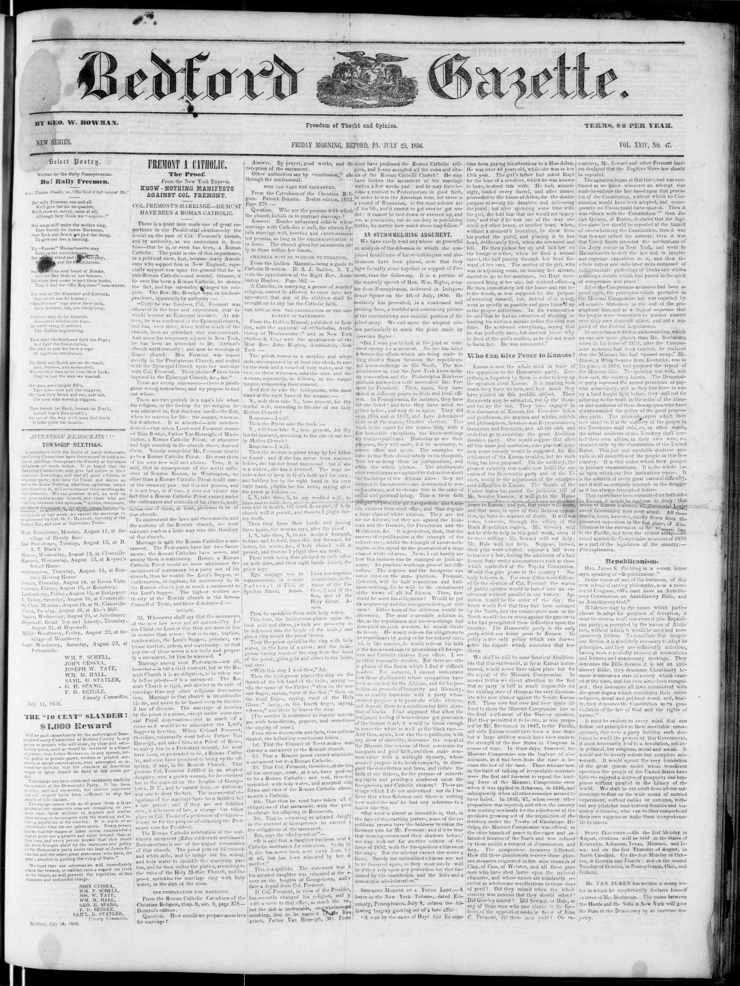 Newspaper of Bedford Gazette dated July 25, 1856 Page 1