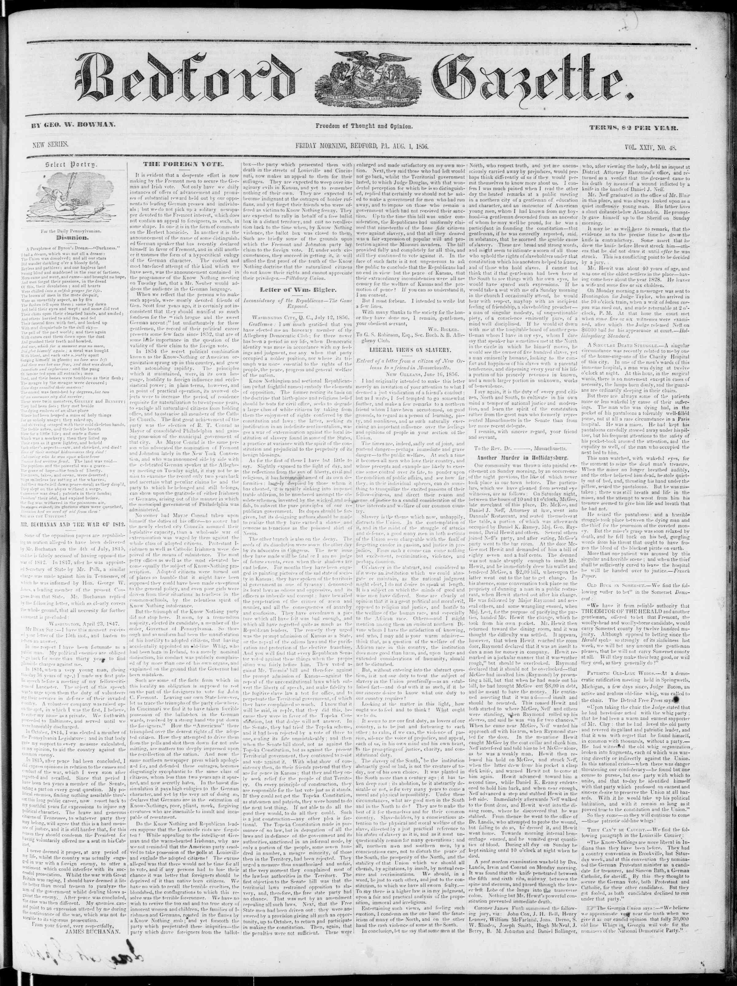 Newspaper of Bedford Gazette dated August 1, 1856 Page 1