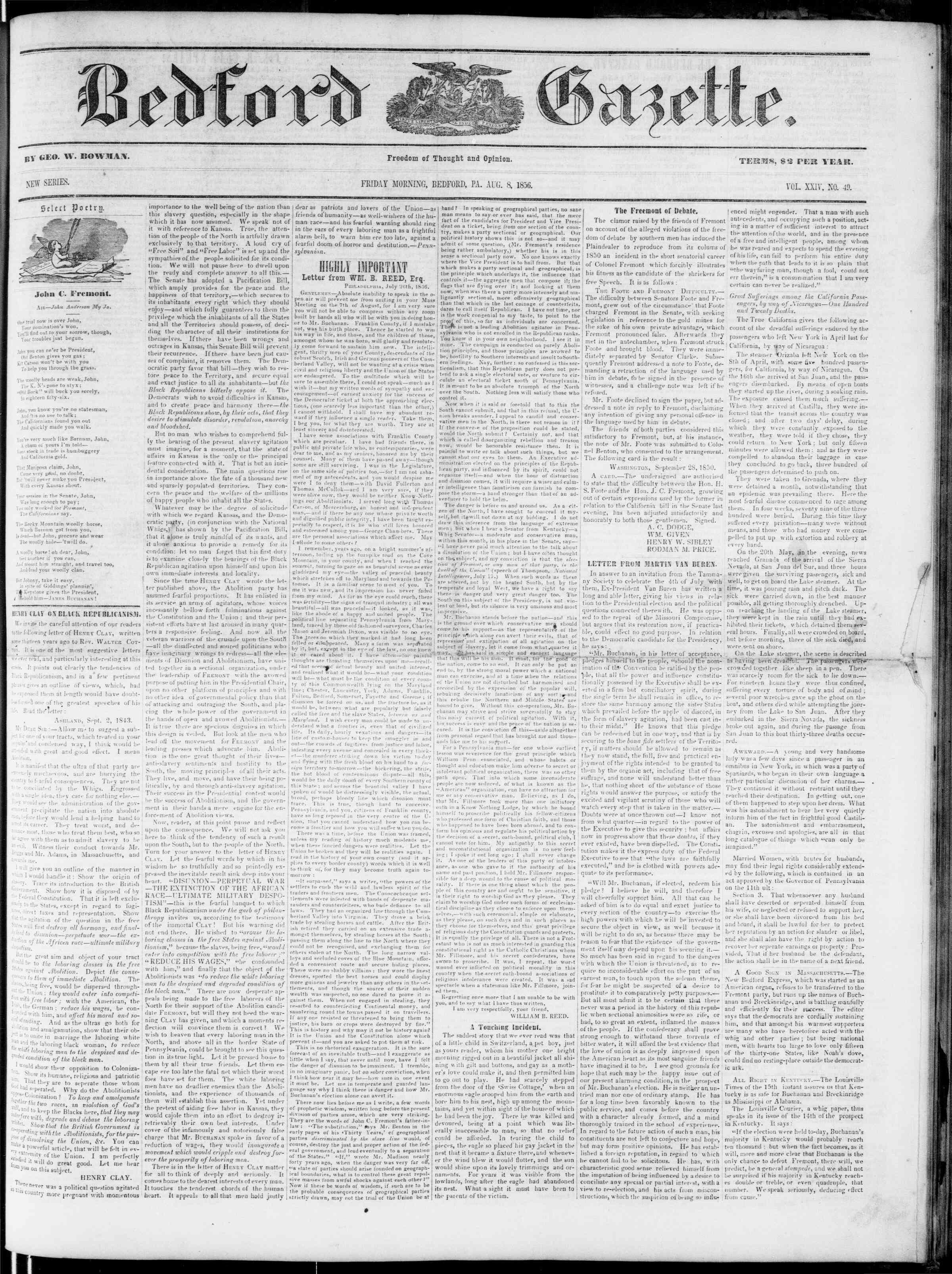 Newspaper of Bedford Gazette dated August 8, 1856 Page 1