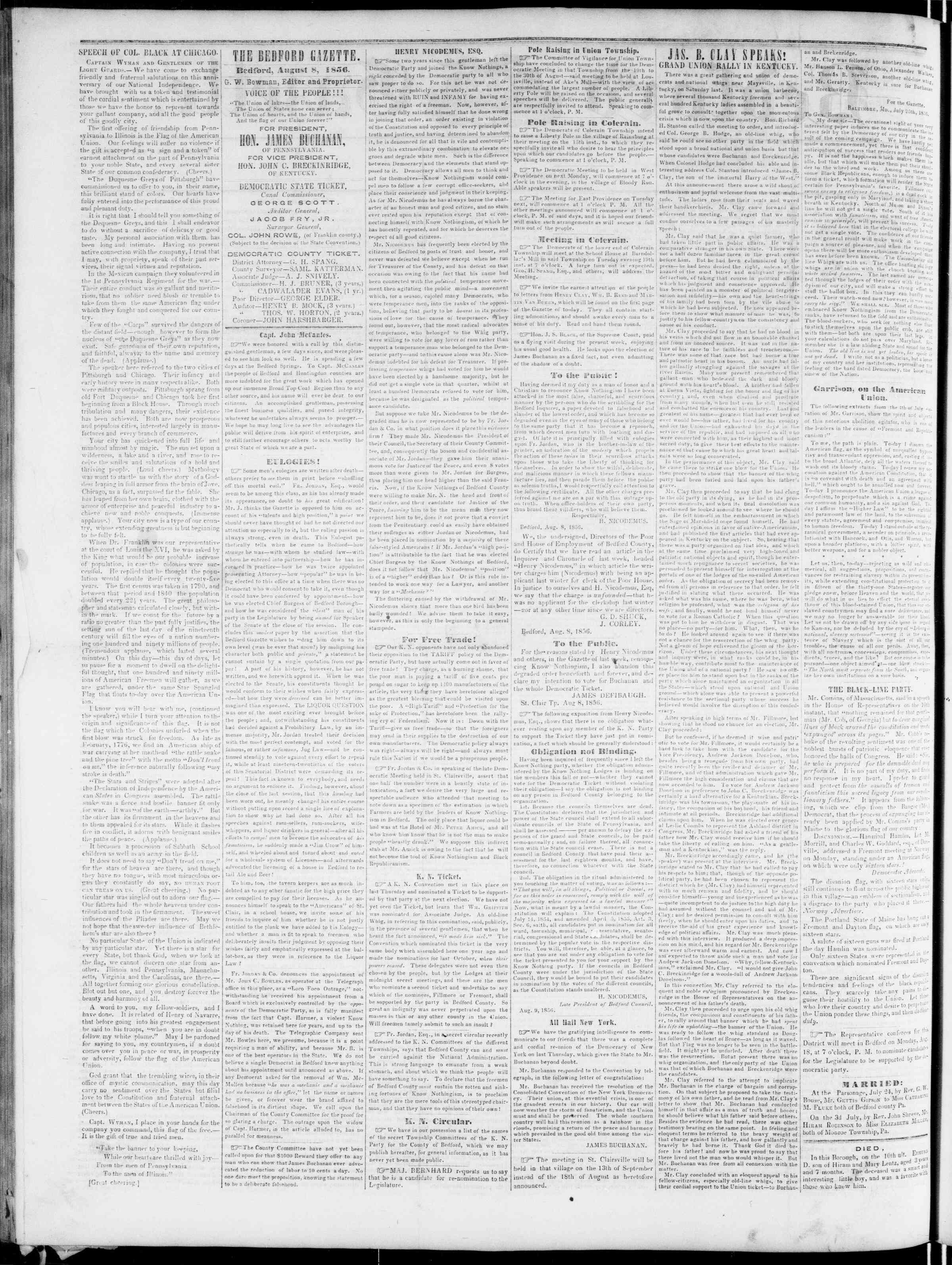 Newspaper of Bedford Gazette dated August 8, 1856 Page 2