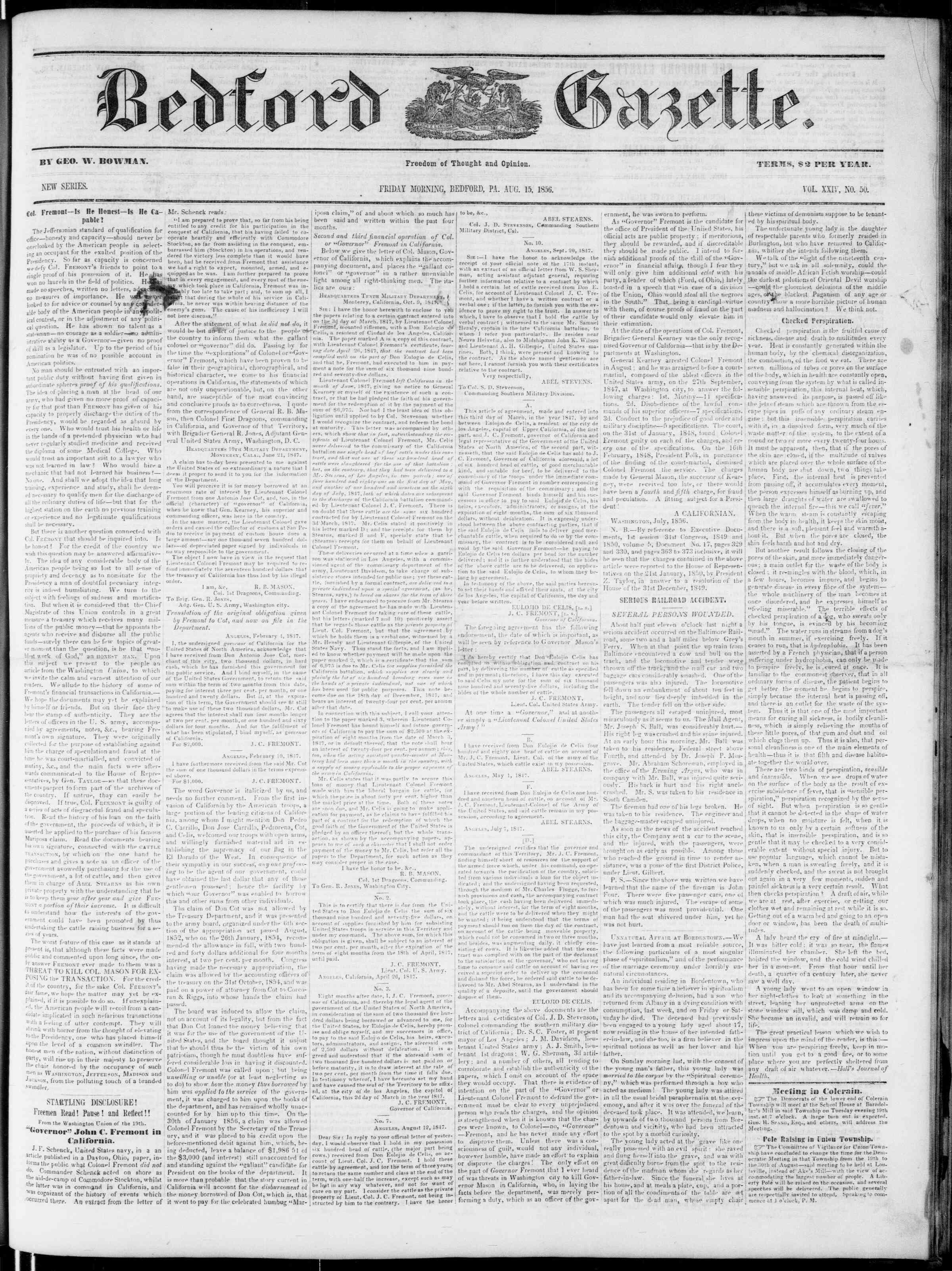 15 Ağustos 1856 tarihli Bedford Gazette Gazetesi Sayfa 1