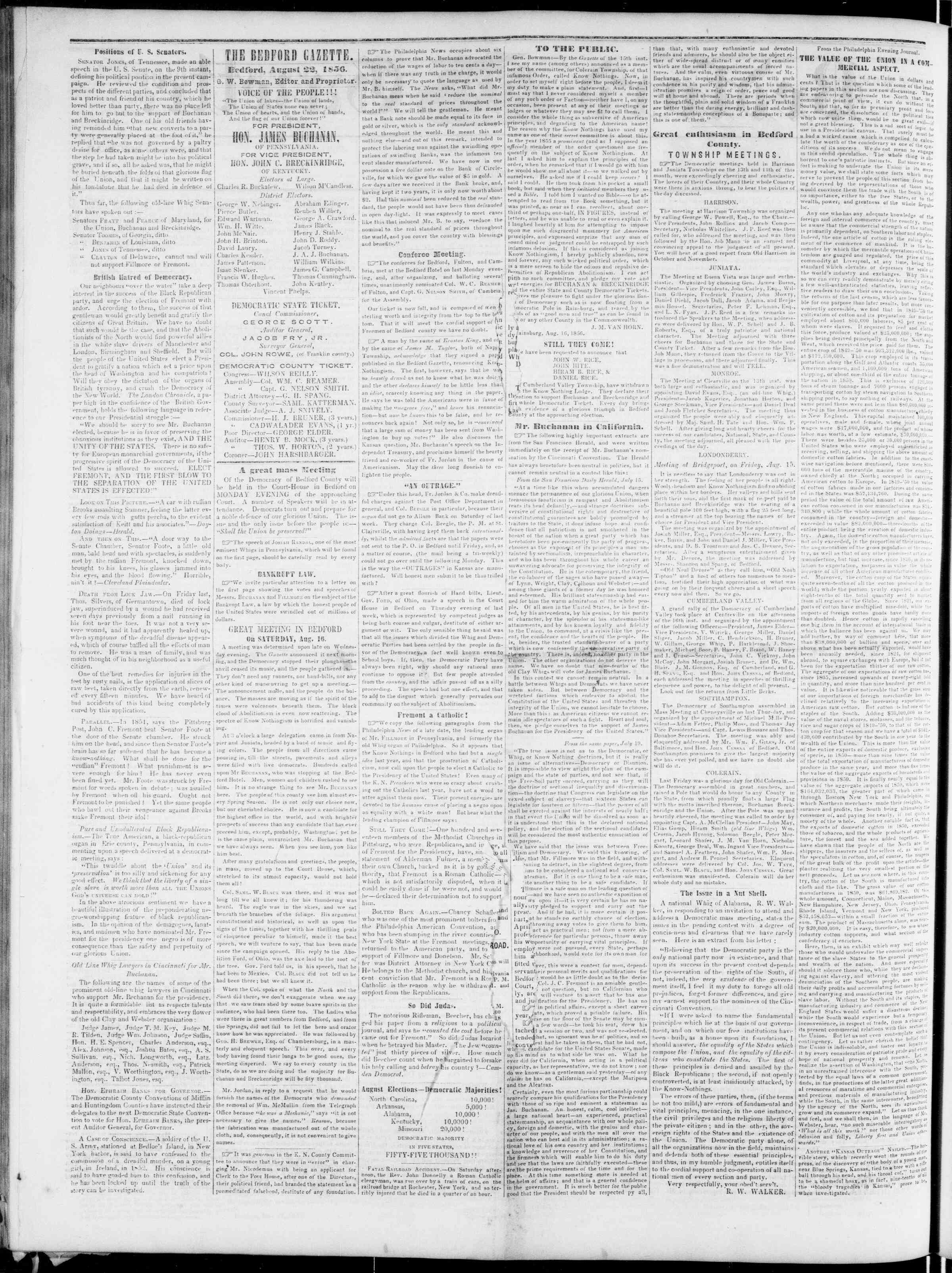 Newspaper of Bedford Gazette dated August 22, 1856 Page 2