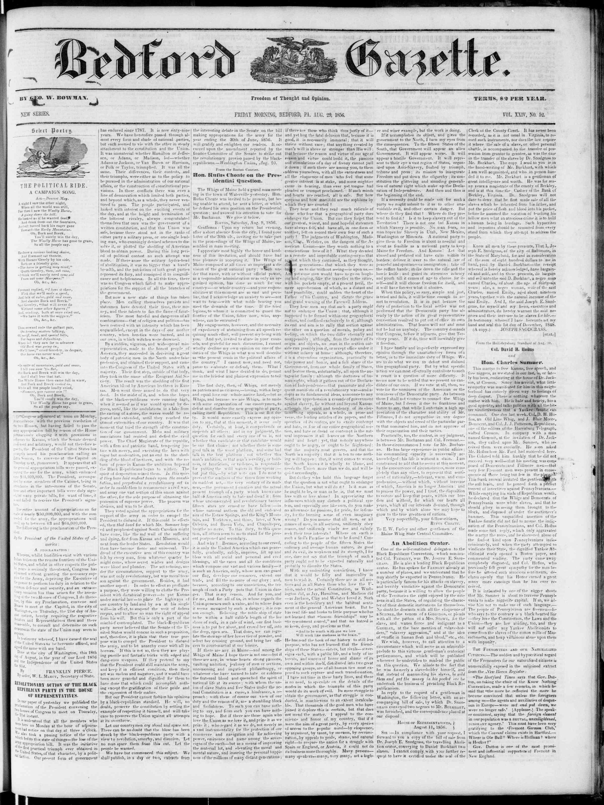 Newspaper of Bedford Gazette dated August 29, 1856 Page 1