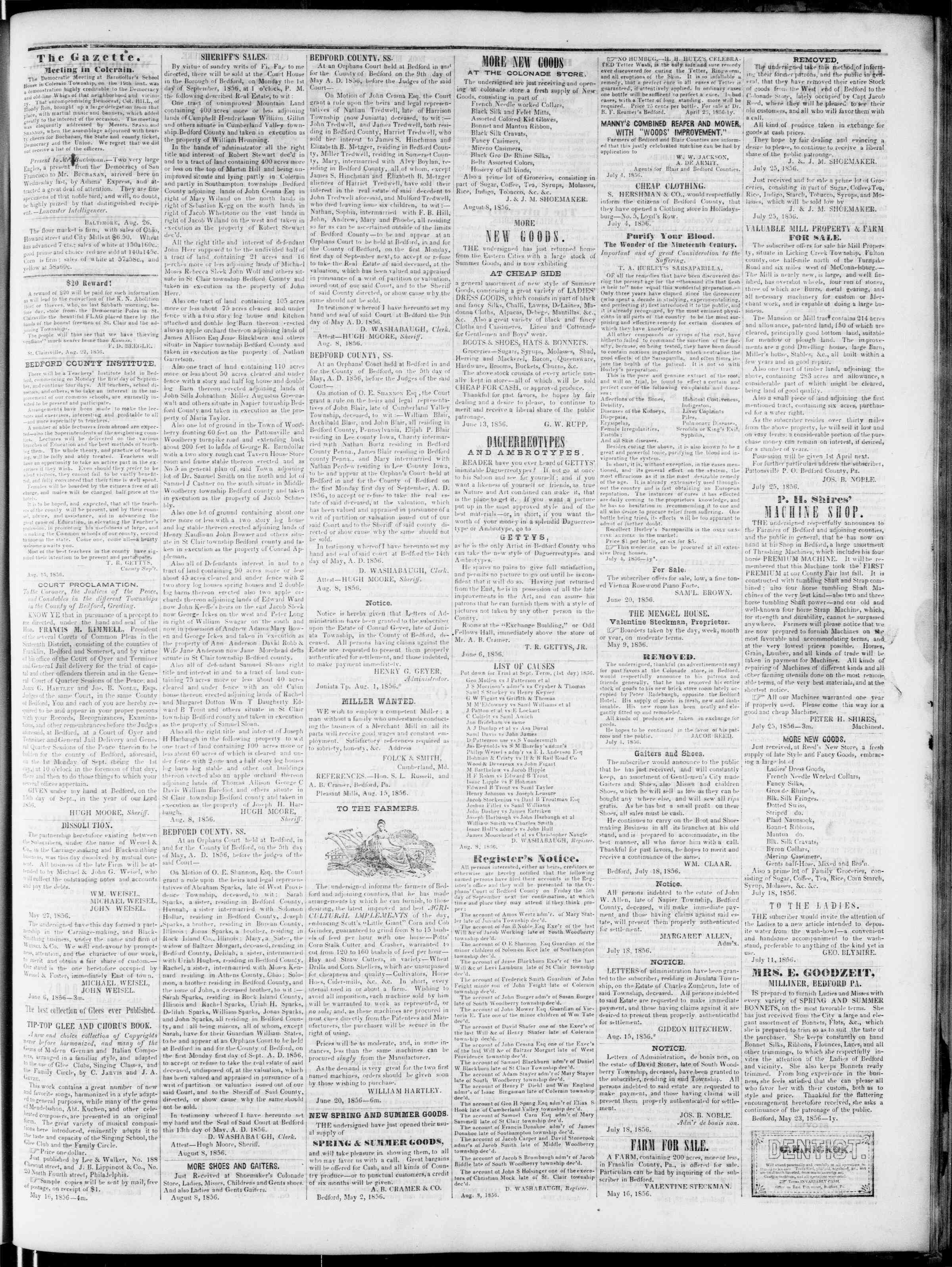 Newspaper of Bedford Gazette dated August 29, 1856 Page 3