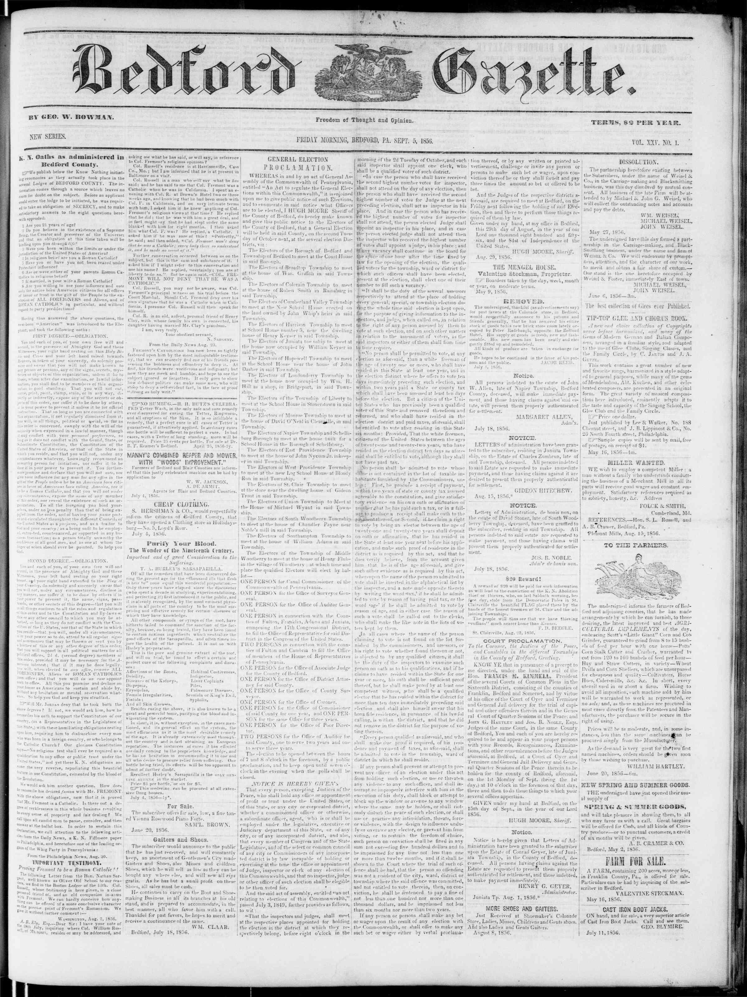 Newspaper of Bedford Gazette dated September 5, 1856 Page 1