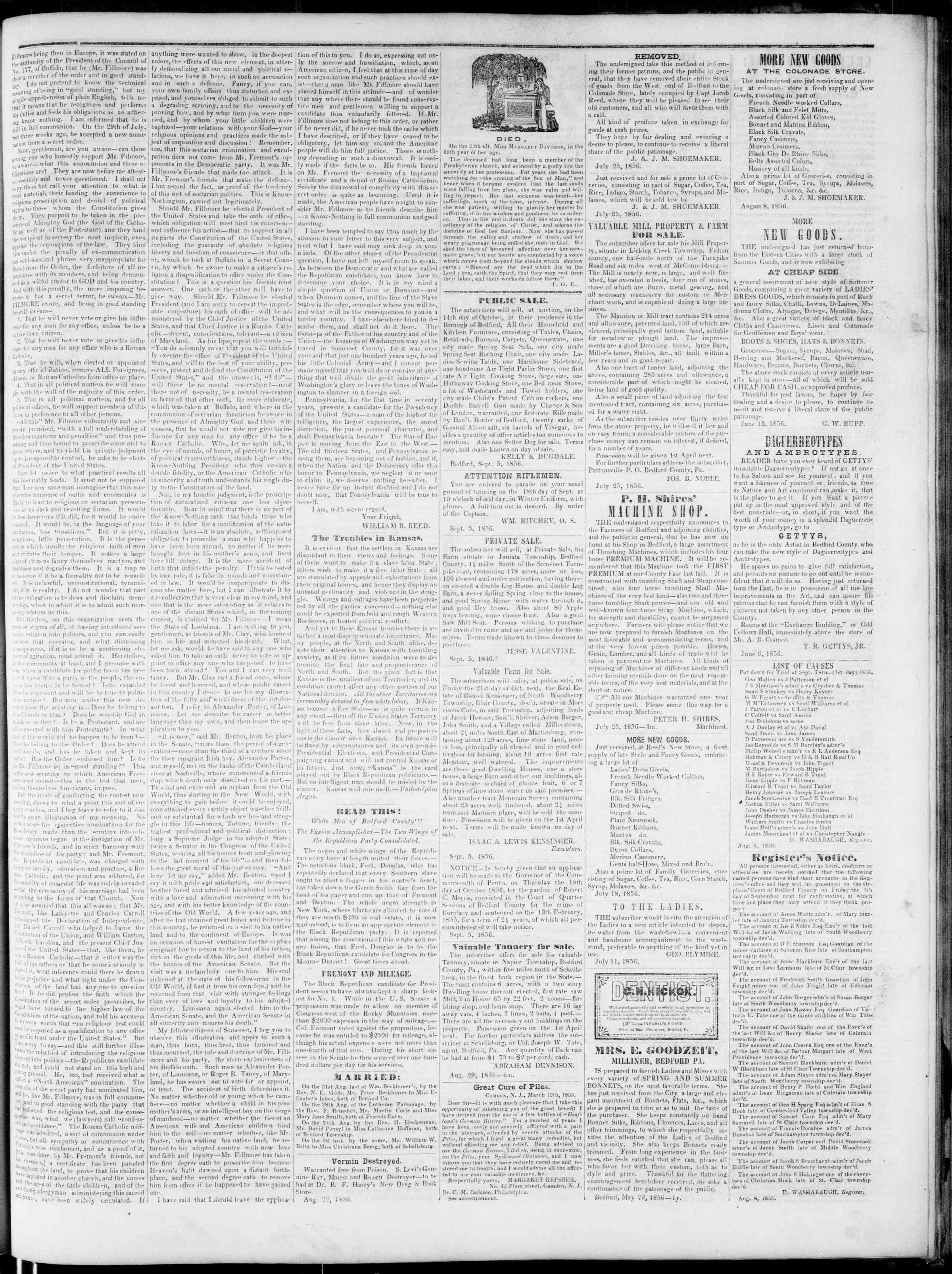 Newspaper of Bedford Gazette dated September 5, 1856 Page 3