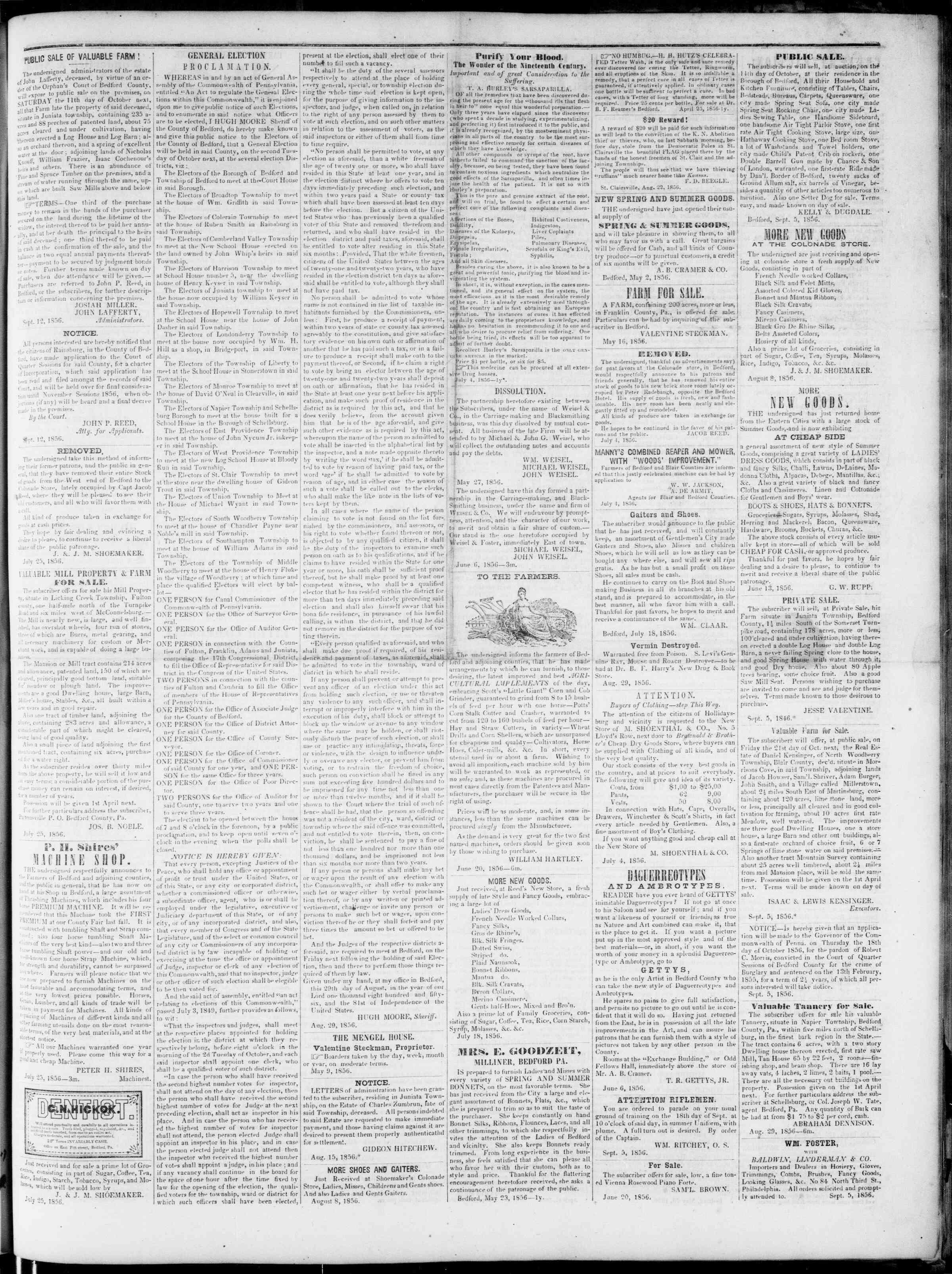 Newspaper of Bedford Gazette dated September 12, 1856 Page 3