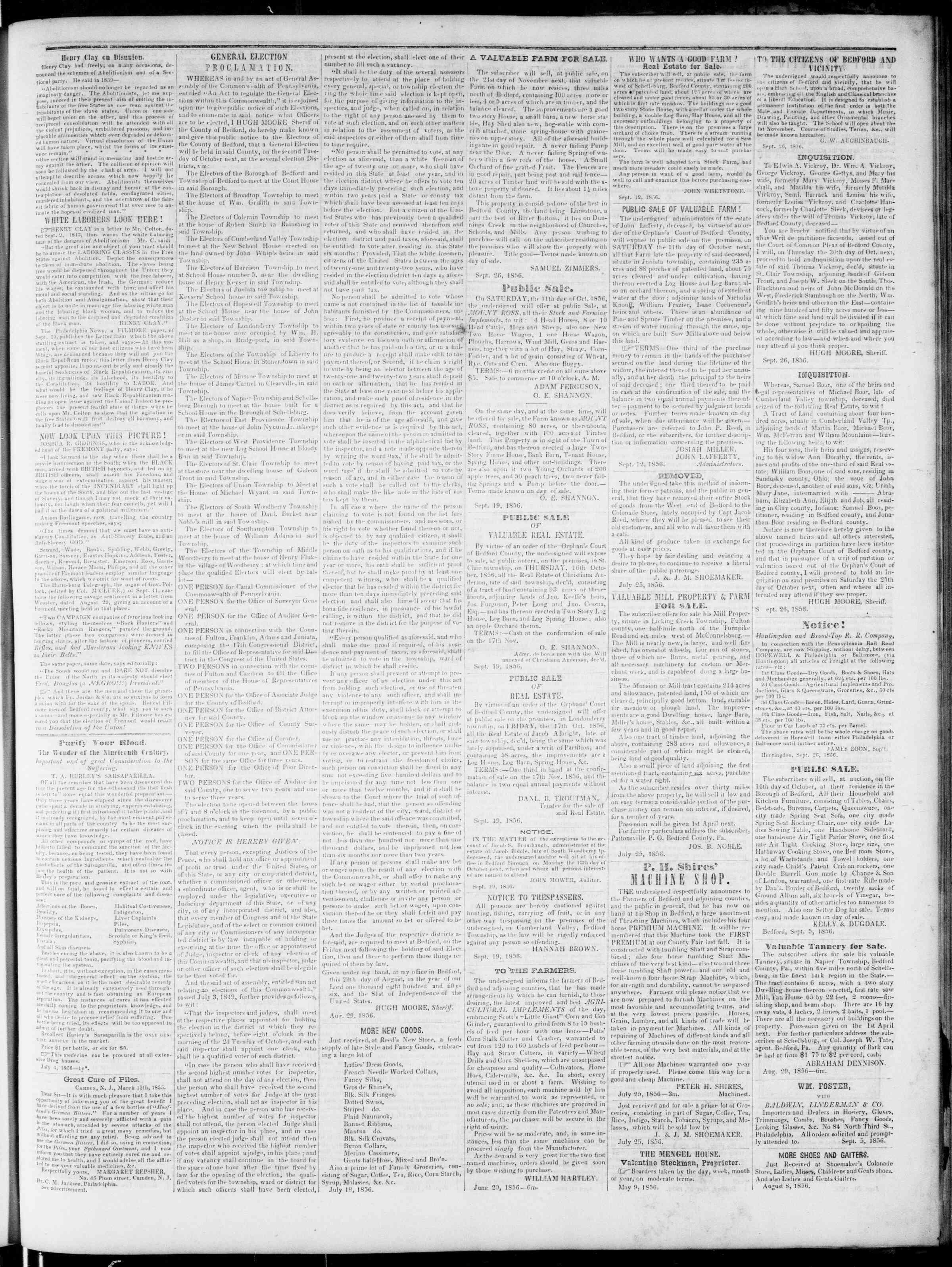 Newspaper of Bedford Gazette dated October 3, 1856 Page 3