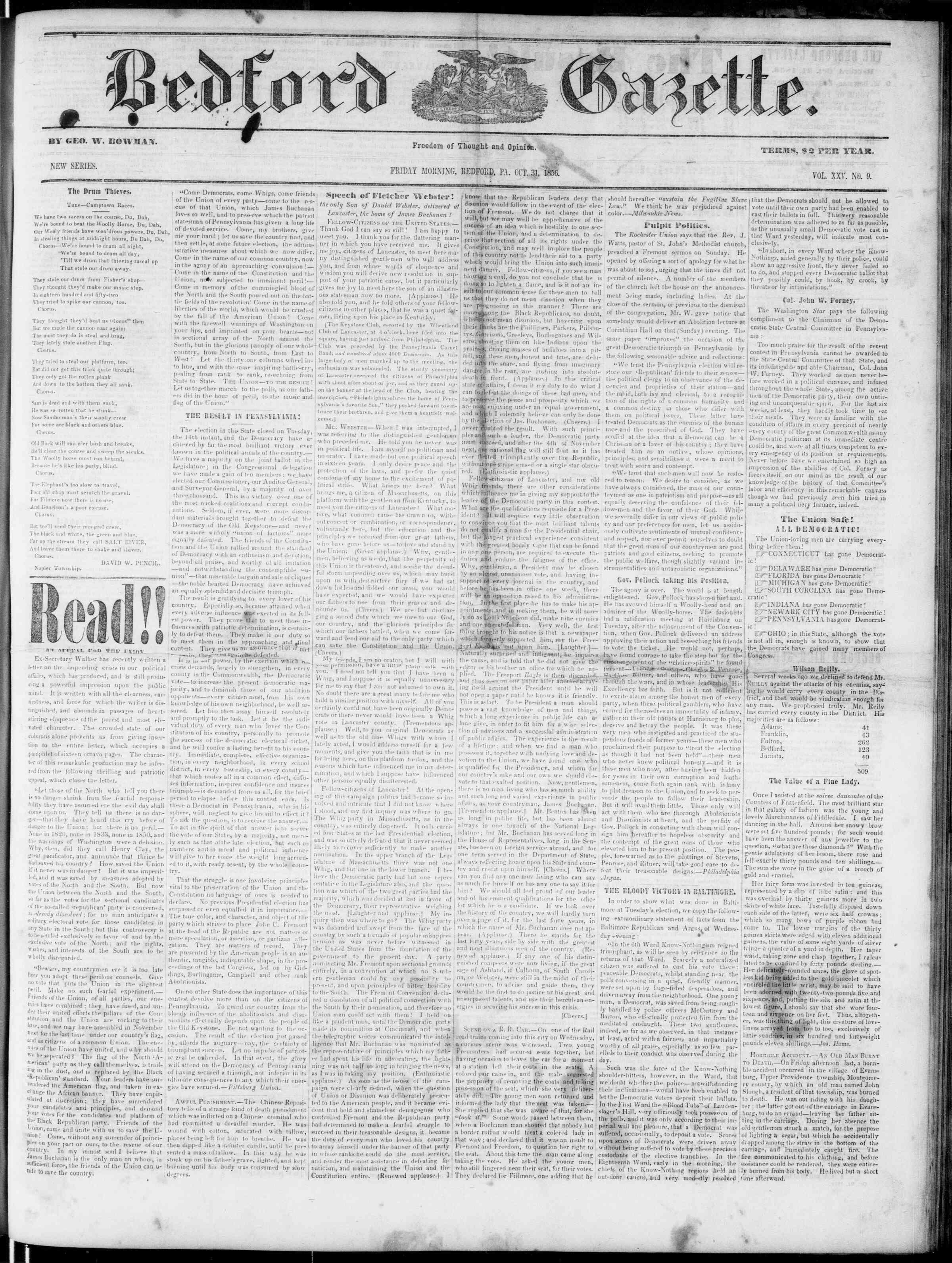 Newspaper of Bedford Gazette dated October 31, 1856 Page 1