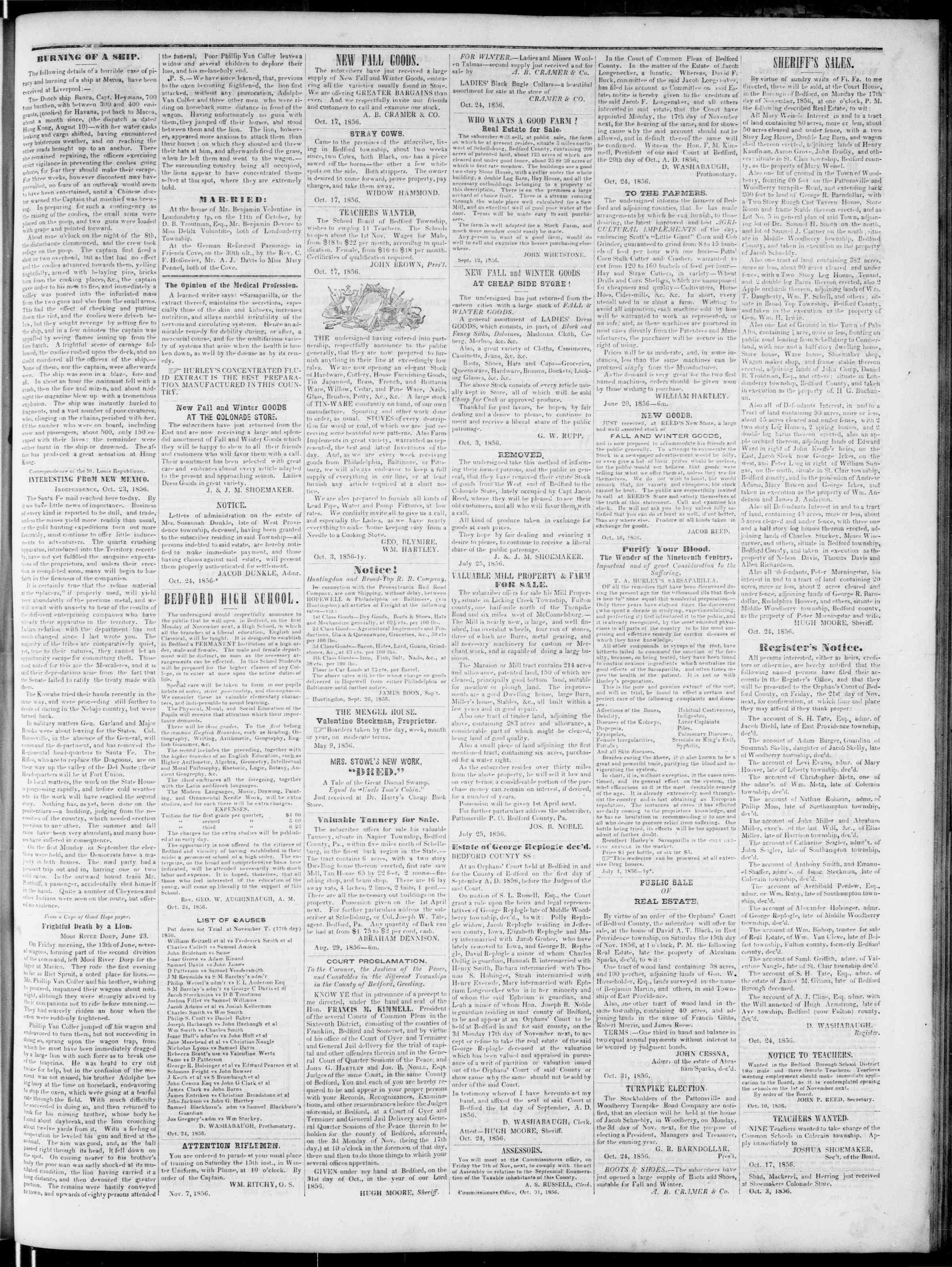 Newspaper of Bedford Gazette dated November 7, 1856 Page 3