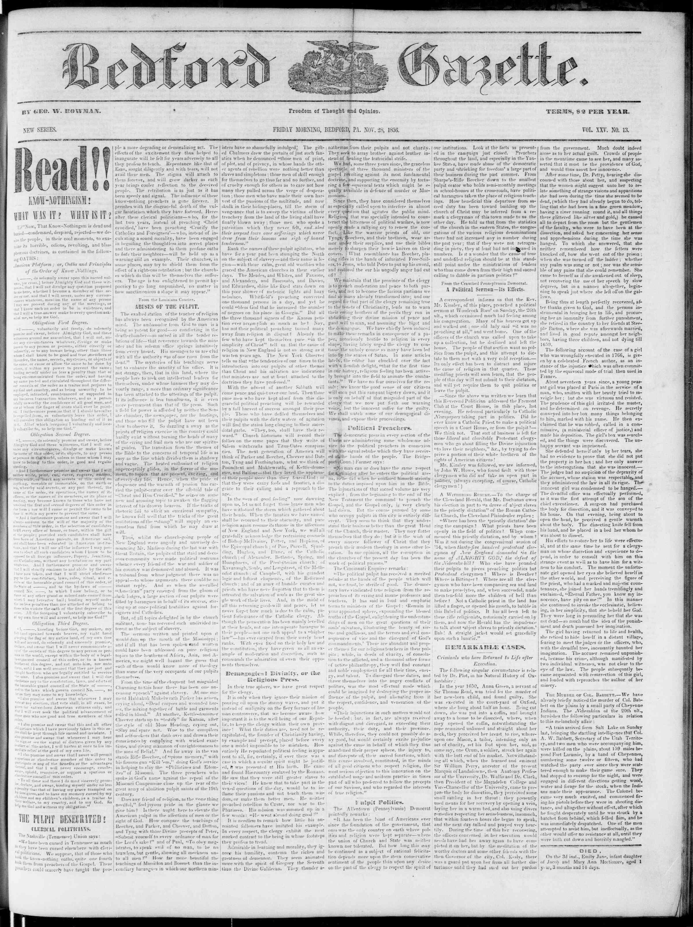 Newspaper of Bedford Gazette dated November 28, 1856 Page 1