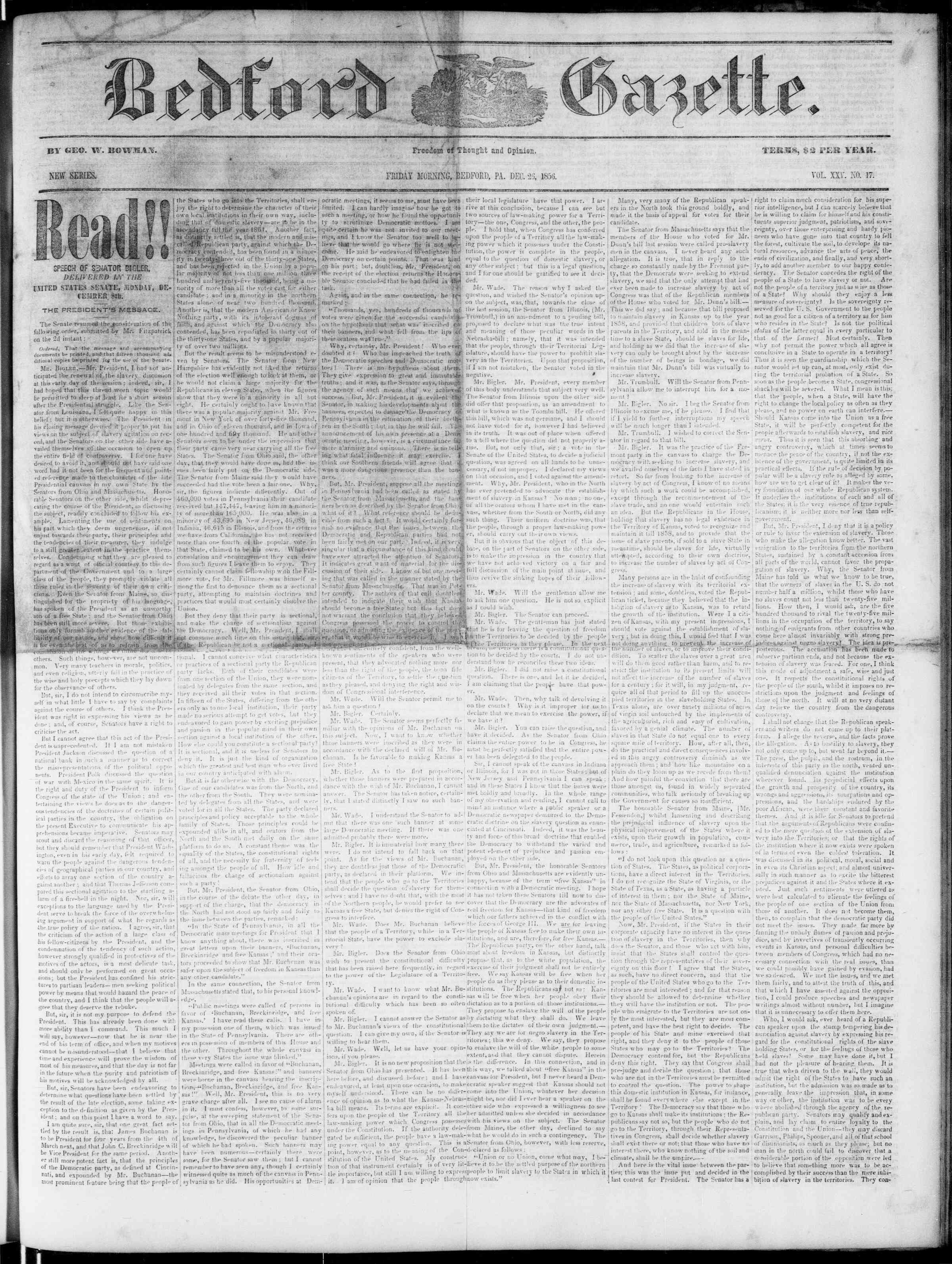 Newspaper of Bedford Gazette dated December 26, 1856 Page 1