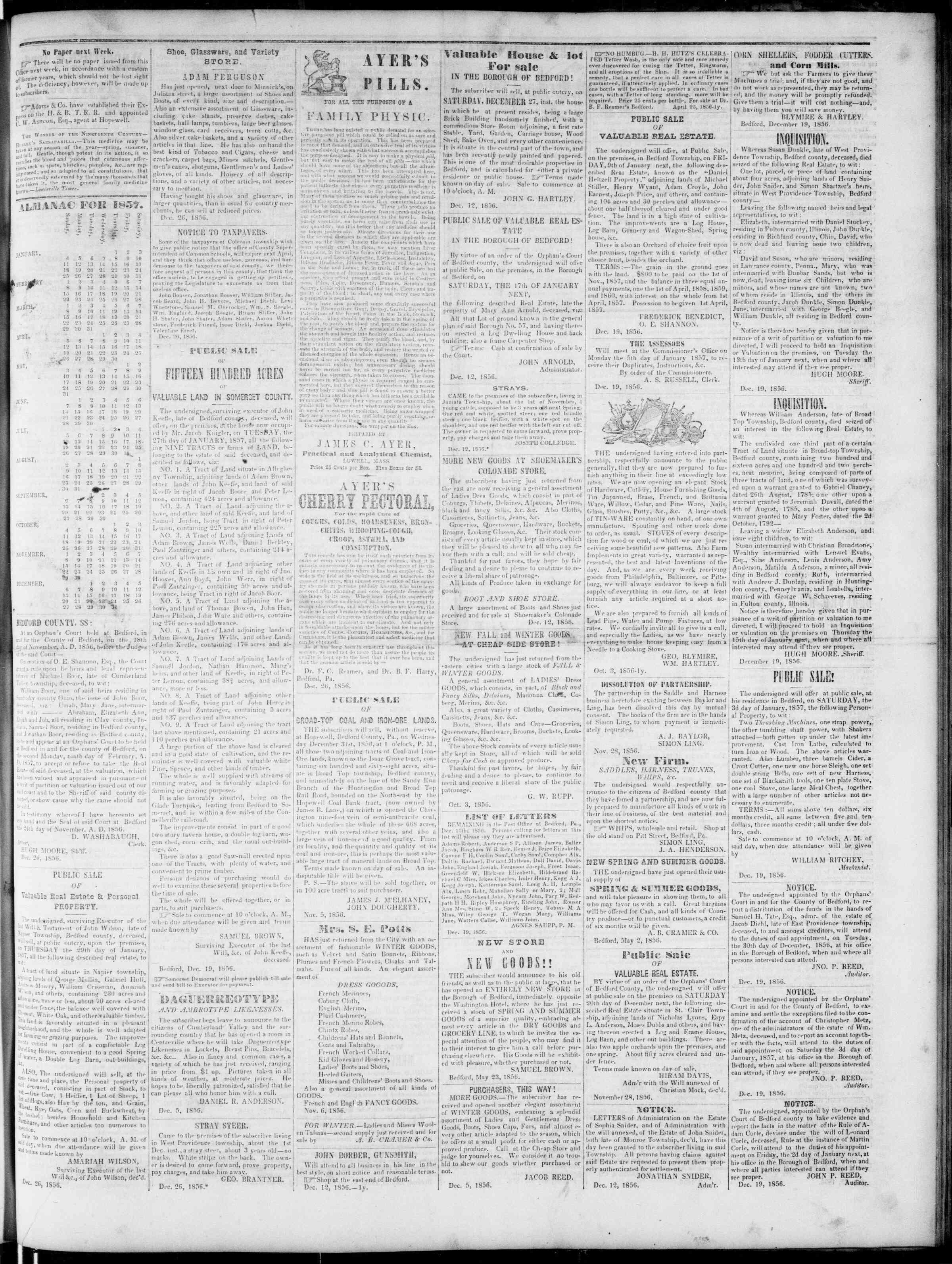 Newspaper of Bedford Gazette dated December 26, 1856 Page 3