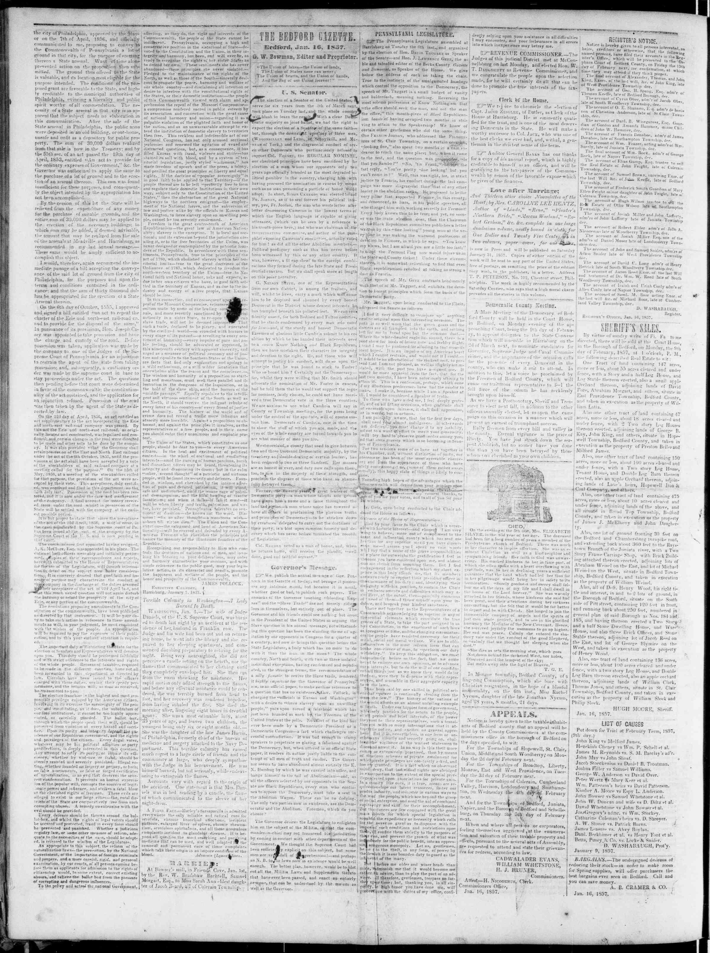 Newspaper of Bedford Gazette dated January 16, 1857 Page 2