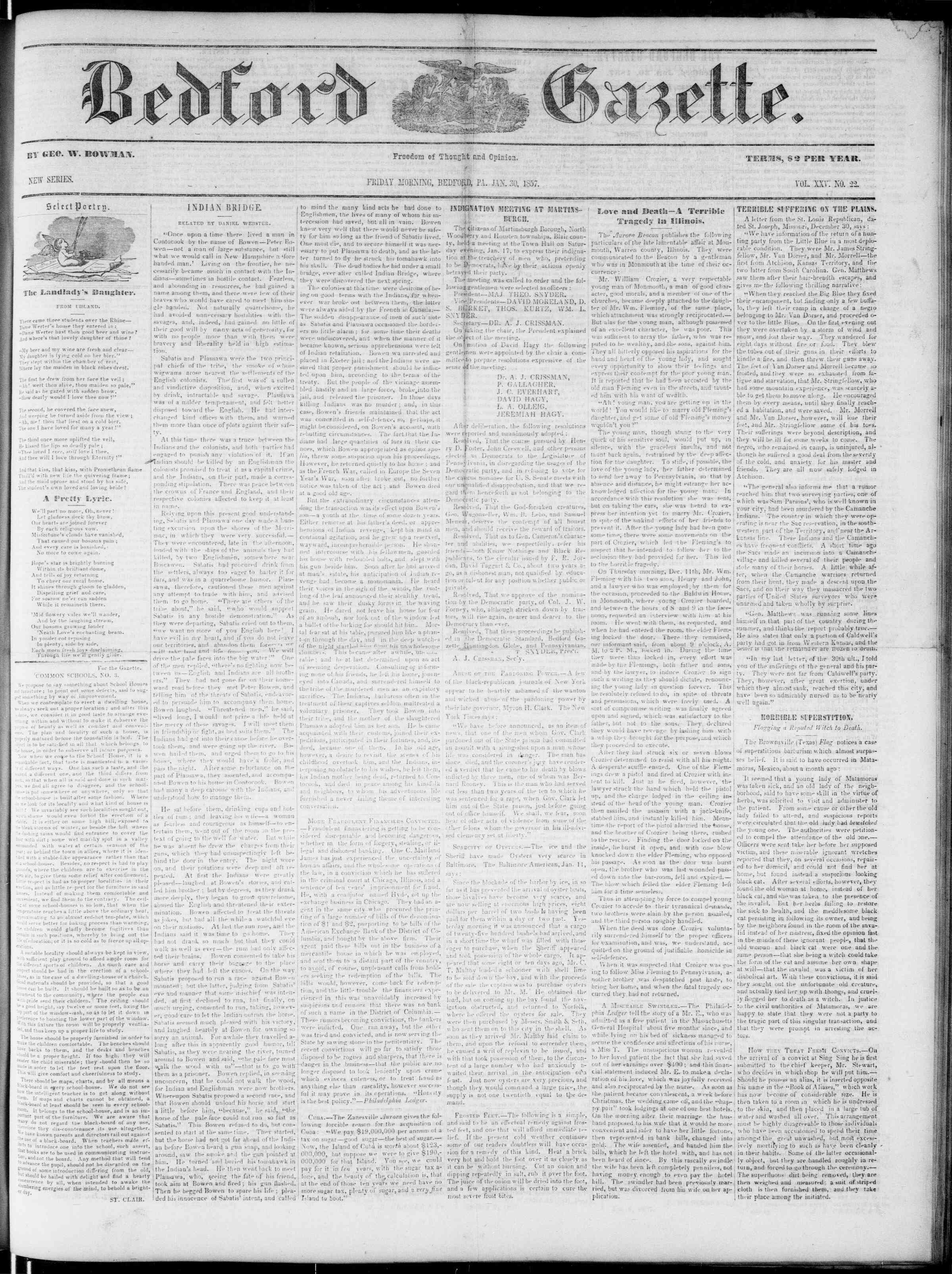 Newspaper of Bedford Gazette dated January 23, 1857 Page 1