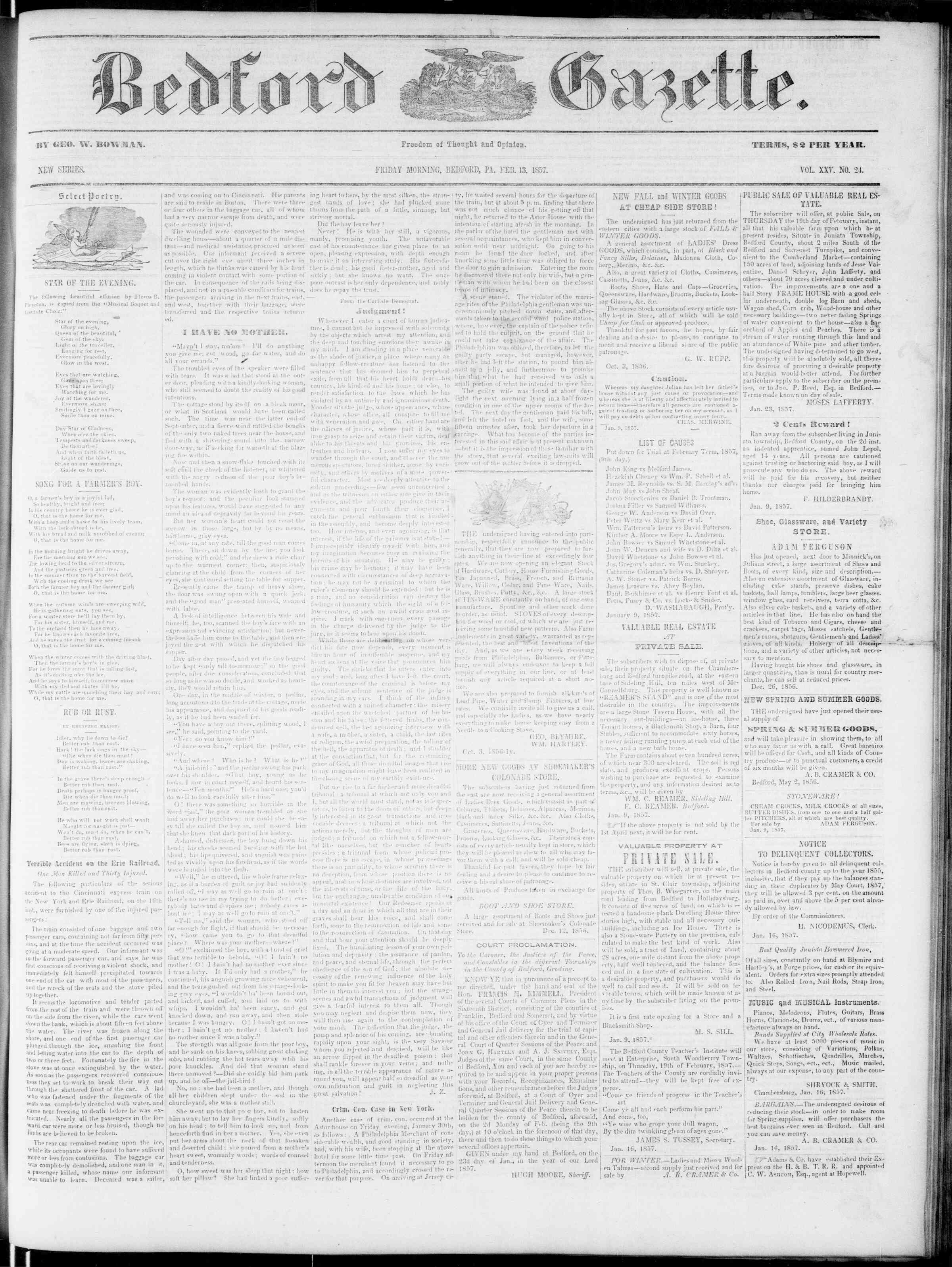 Newspaper of Bedford Gazette dated February 13, 1857 Page 1