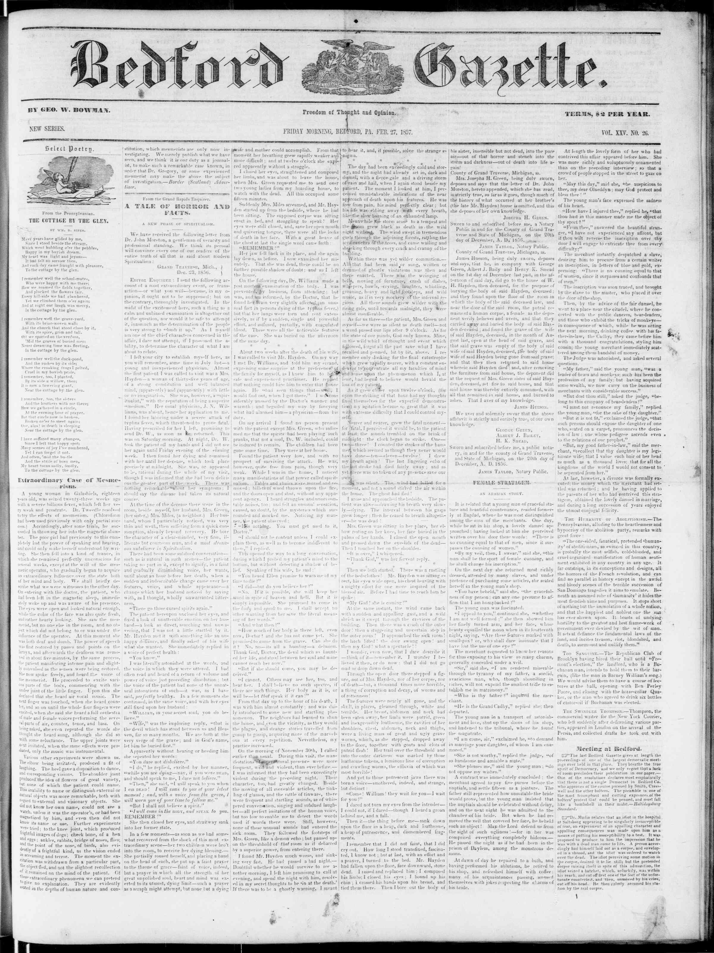 Newspaper of Bedford Gazette dated February 27, 1857 Page 1