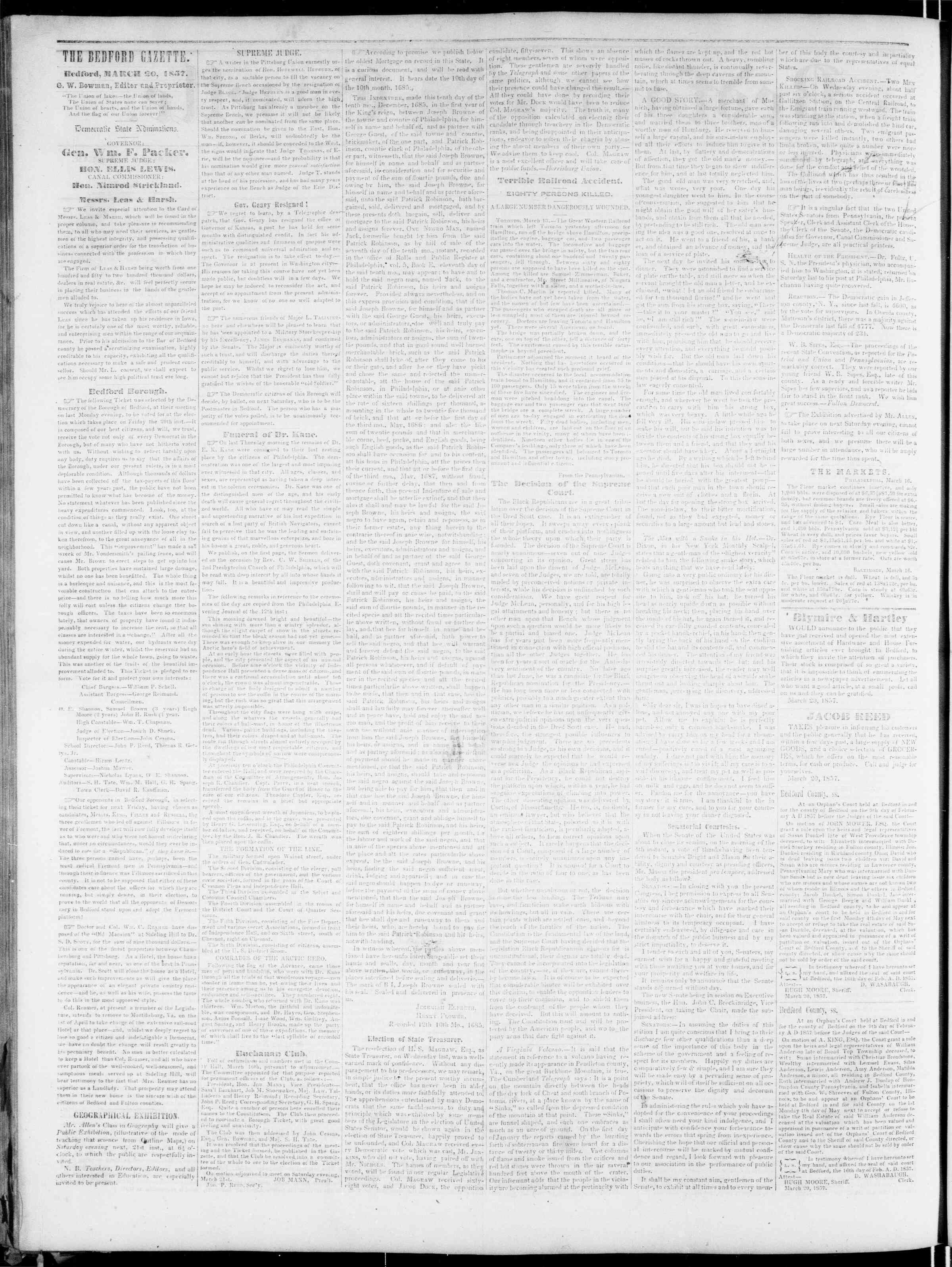 Newspaper of Bedford Gazette dated March 20, 1857 Page 2