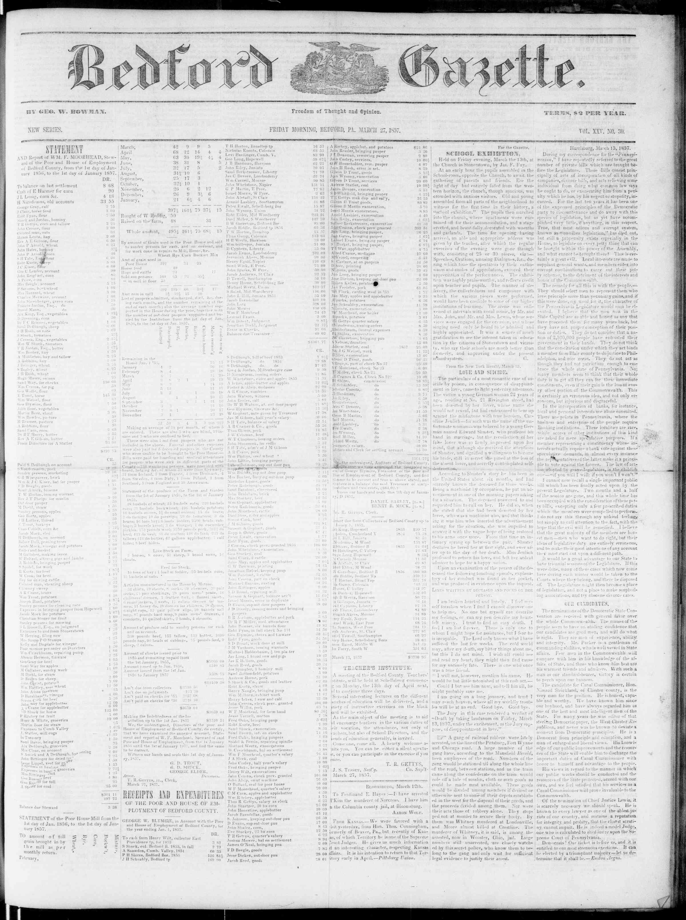 Newspaper of Bedford Gazette dated March 27, 1857 Page 1