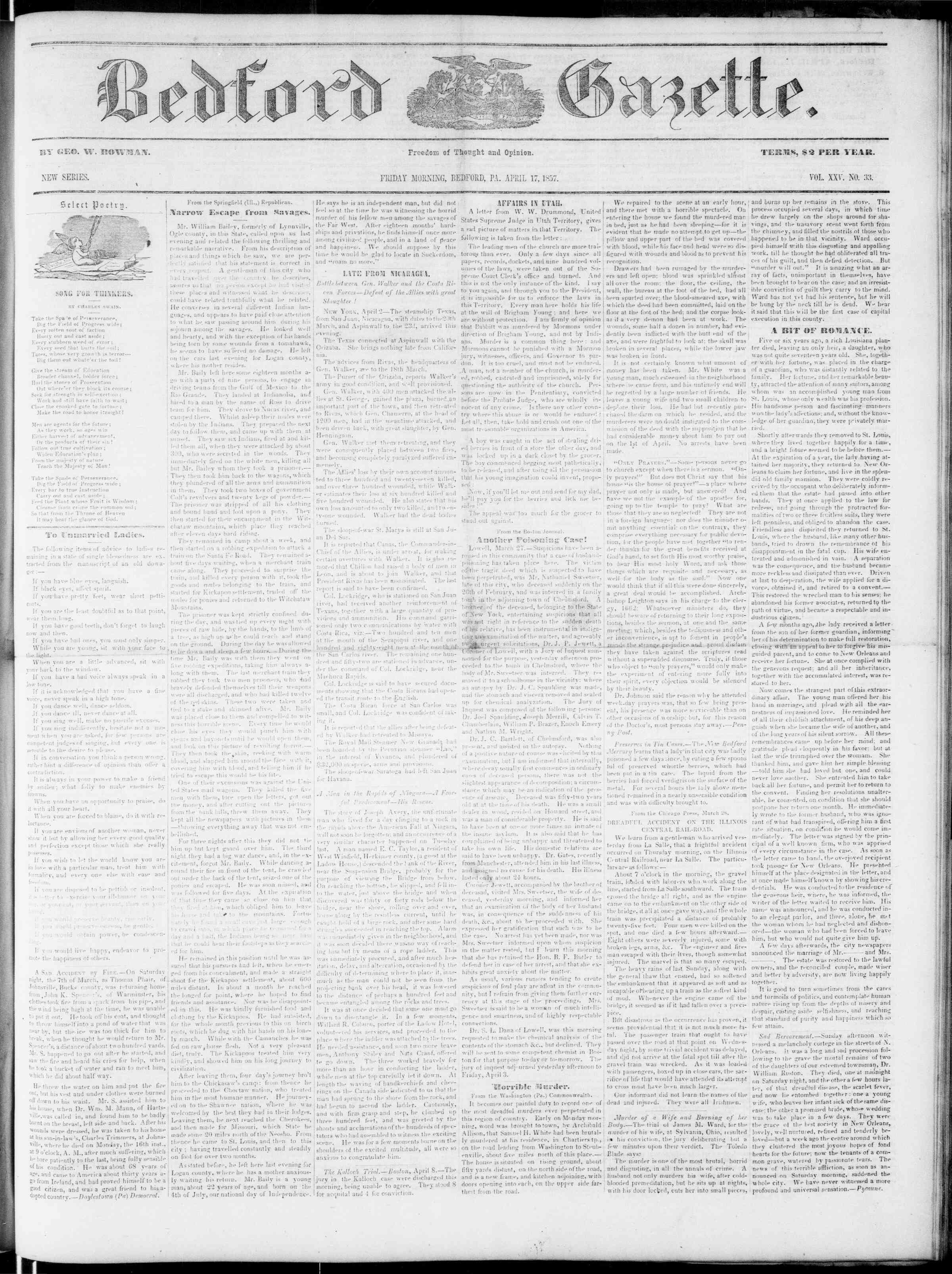 Newspaper of Bedford Gazette dated April 17, 1857 Page 1