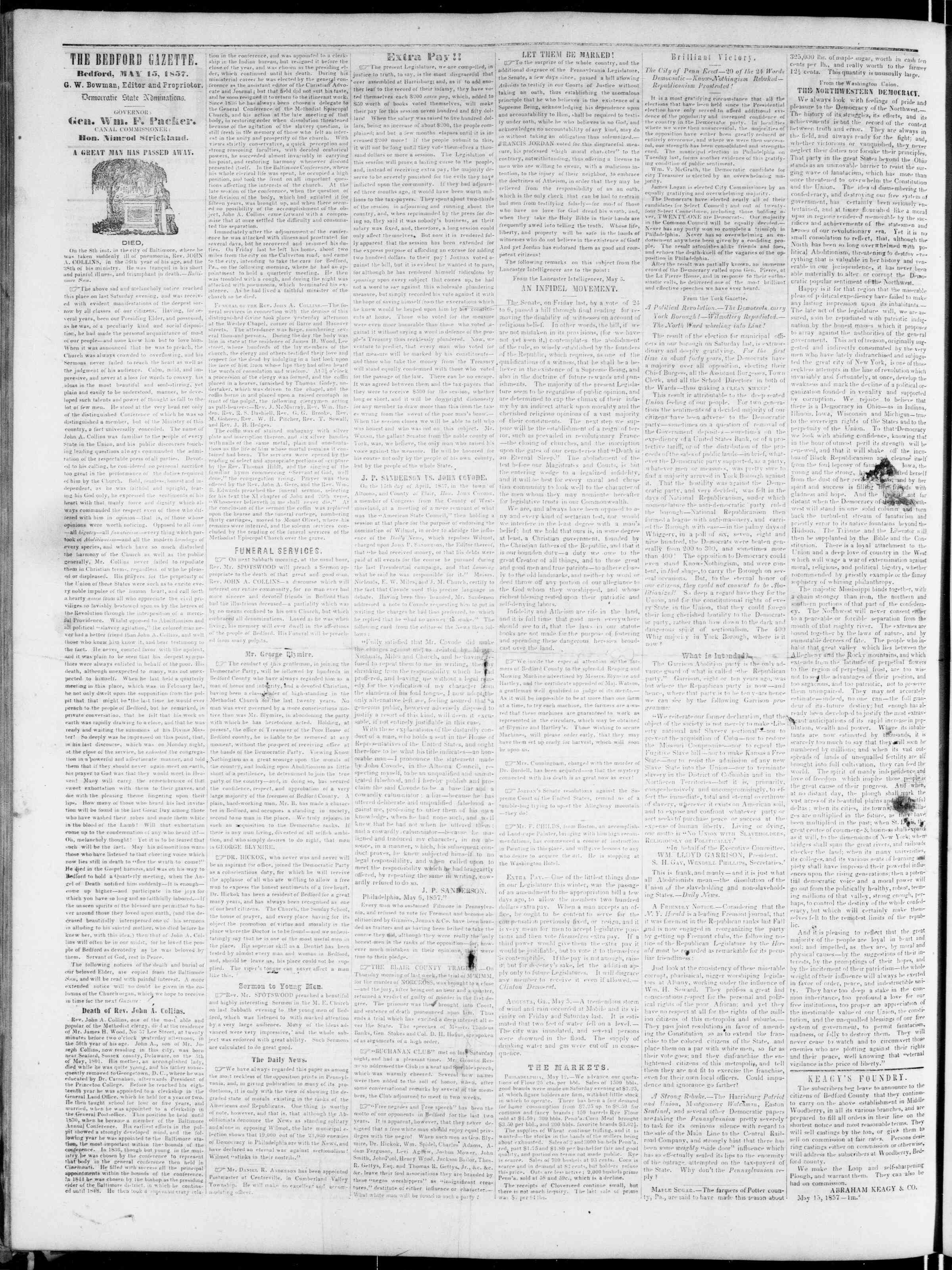Newspaper of Bedford Gazette dated May 15, 1857 Page 2