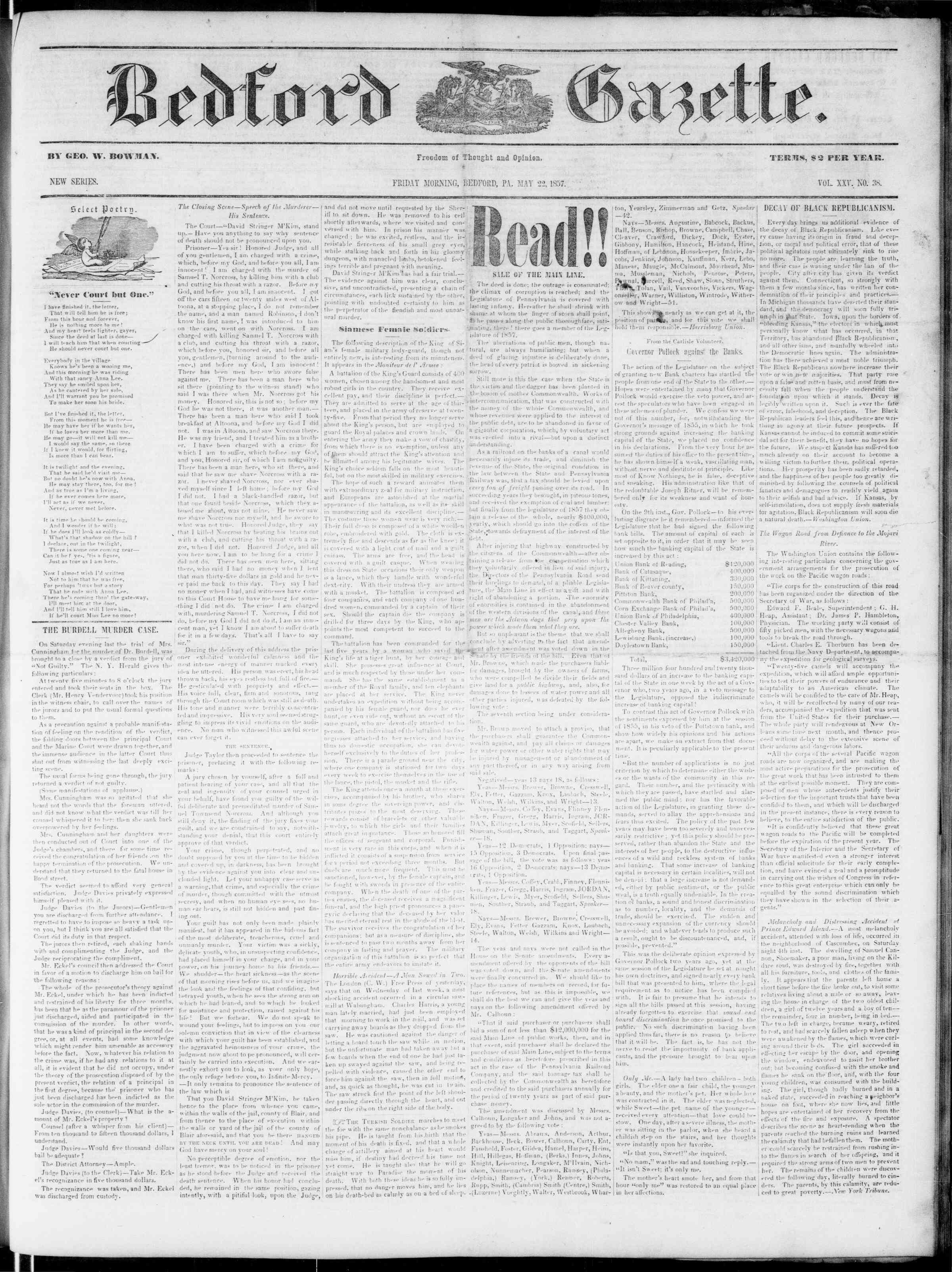 Newspaper of Bedford Gazette dated May 22, 1857 Page 1