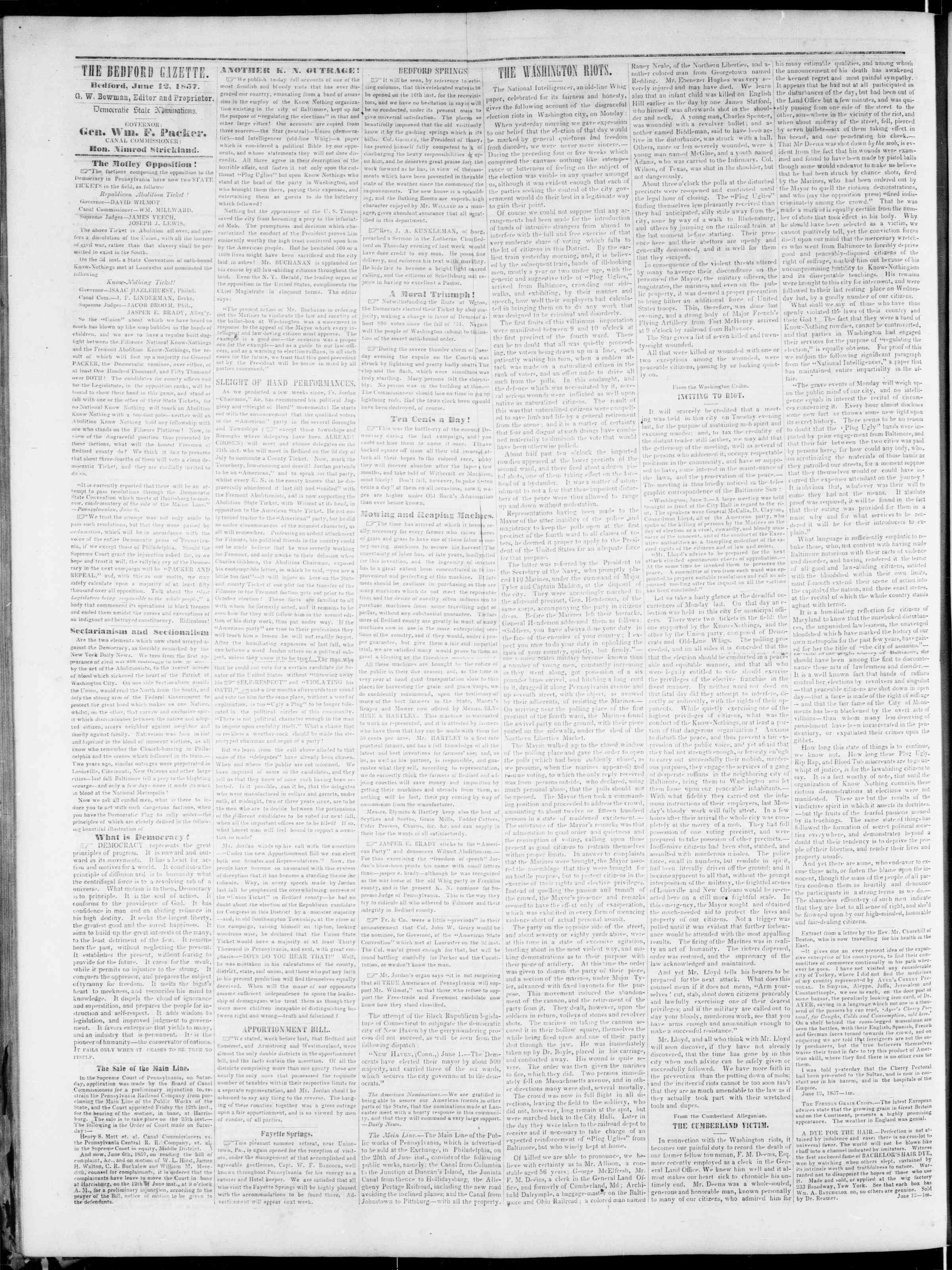 Newspaper of Bedford Gazette dated June 12, 1857 Page 2