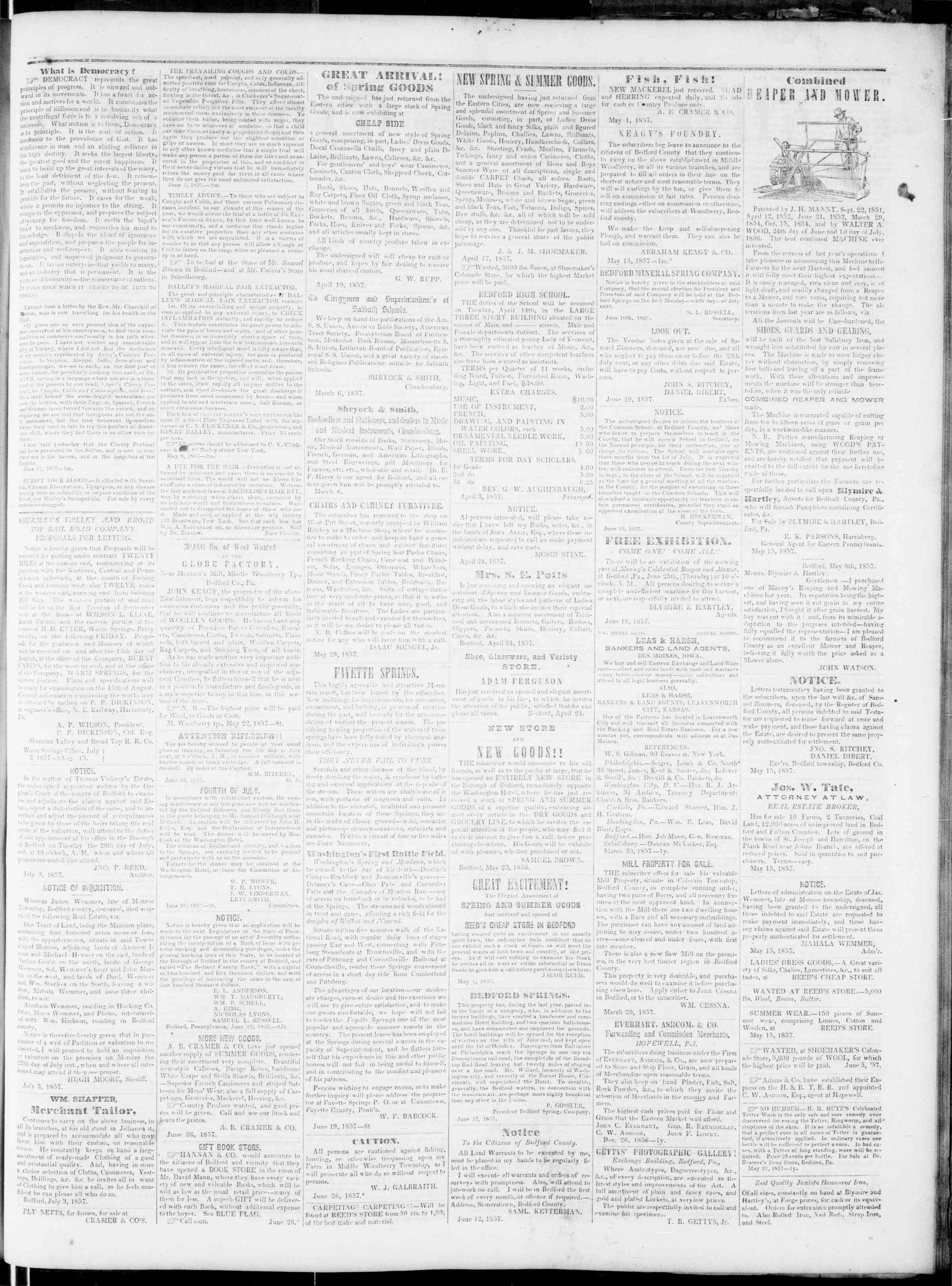 Newspaper of Bedford Gazette dated July 3, 1857 Page 3