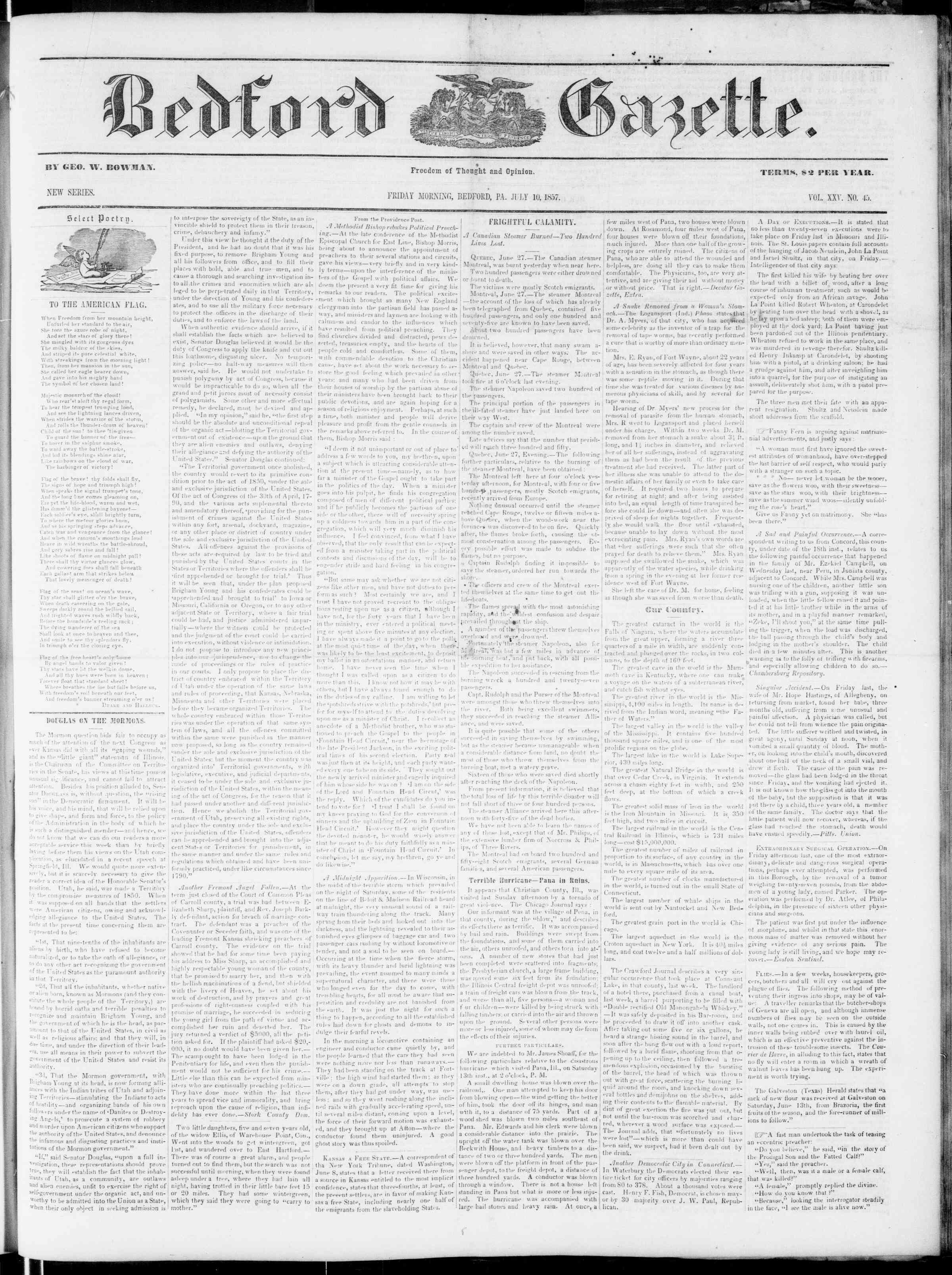 Newspaper of Bedford Gazette dated July 10, 1857 Page 1