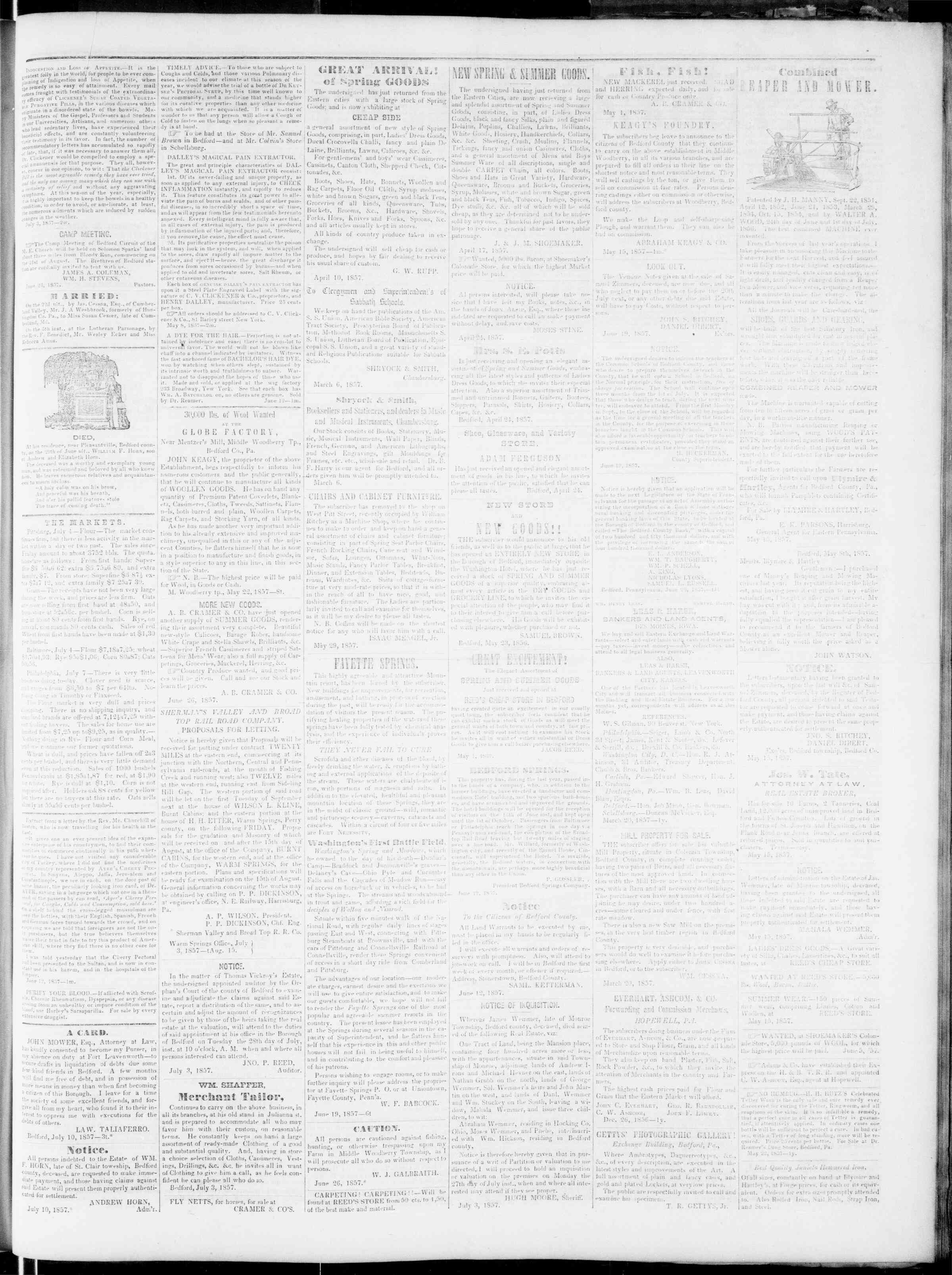 Newspaper of Bedford Gazette dated July 10, 1857 Page 3