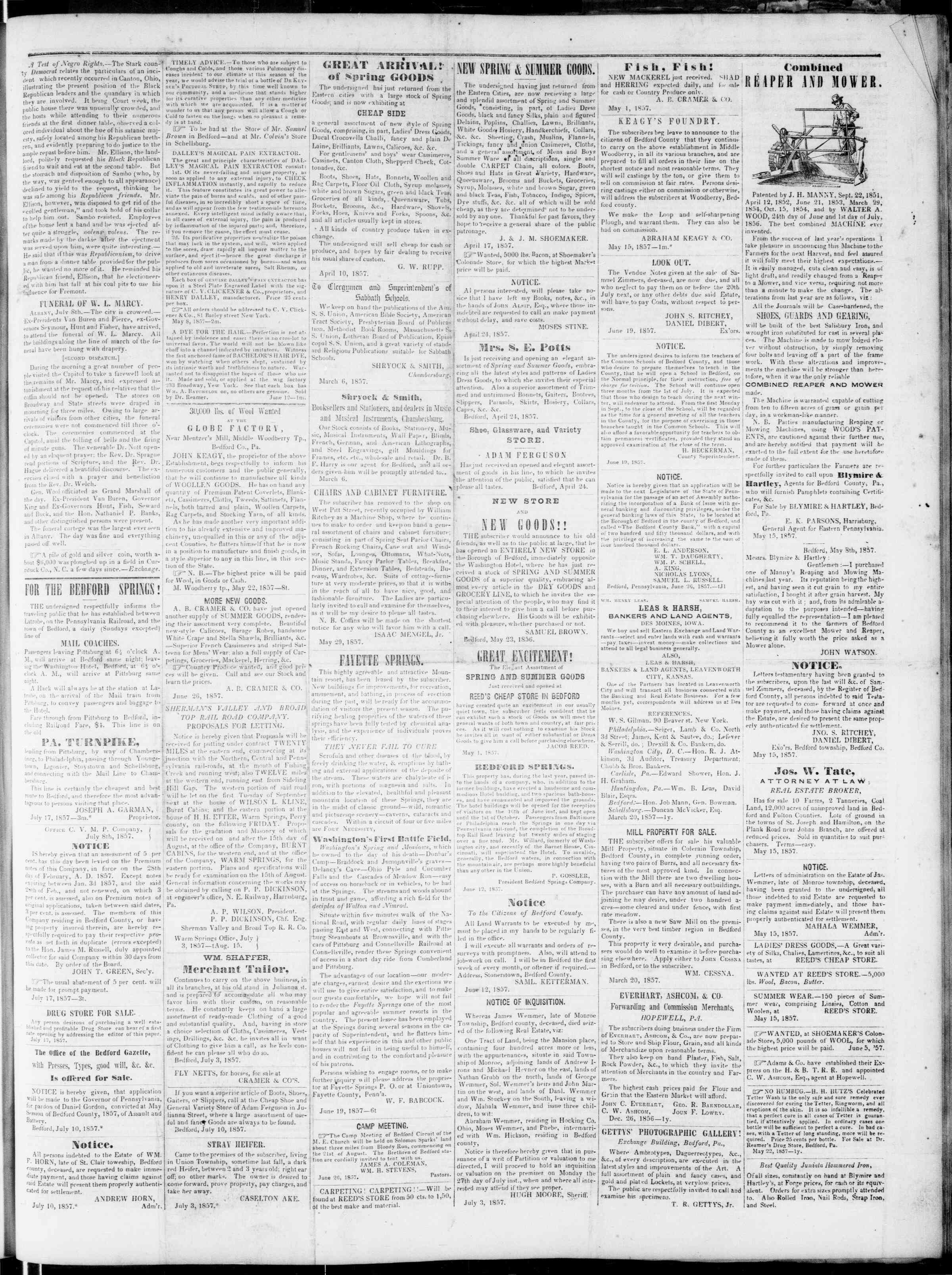Newspaper of Bedford Gazette dated July 17, 1857 Page 3