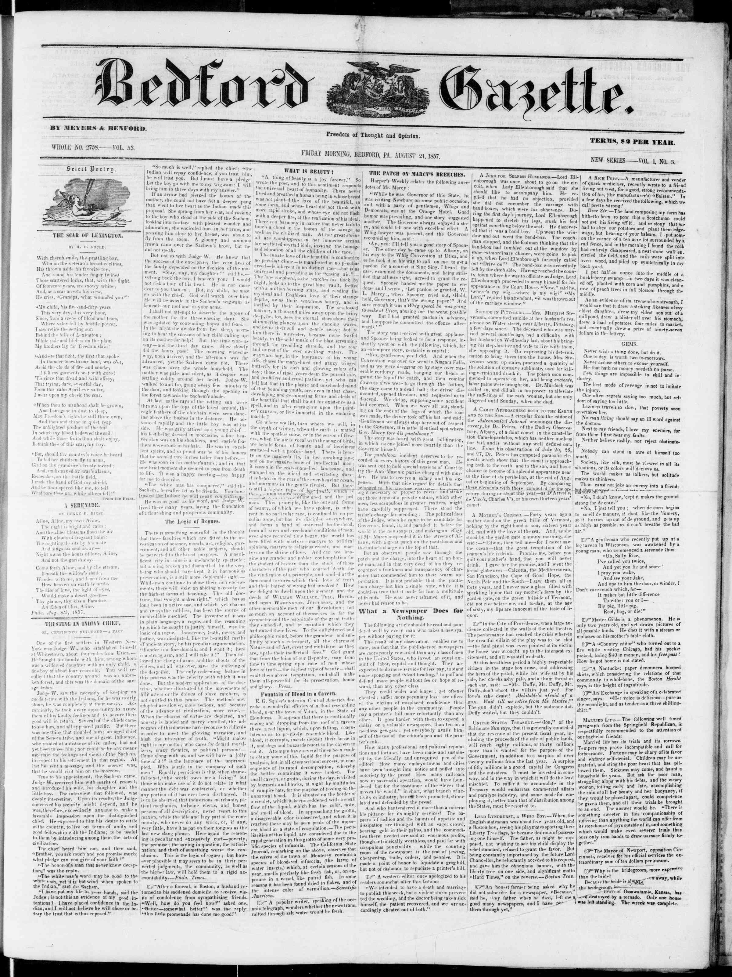 Newspaper of Bedford Gazette dated August 21, 1857 Page 1
