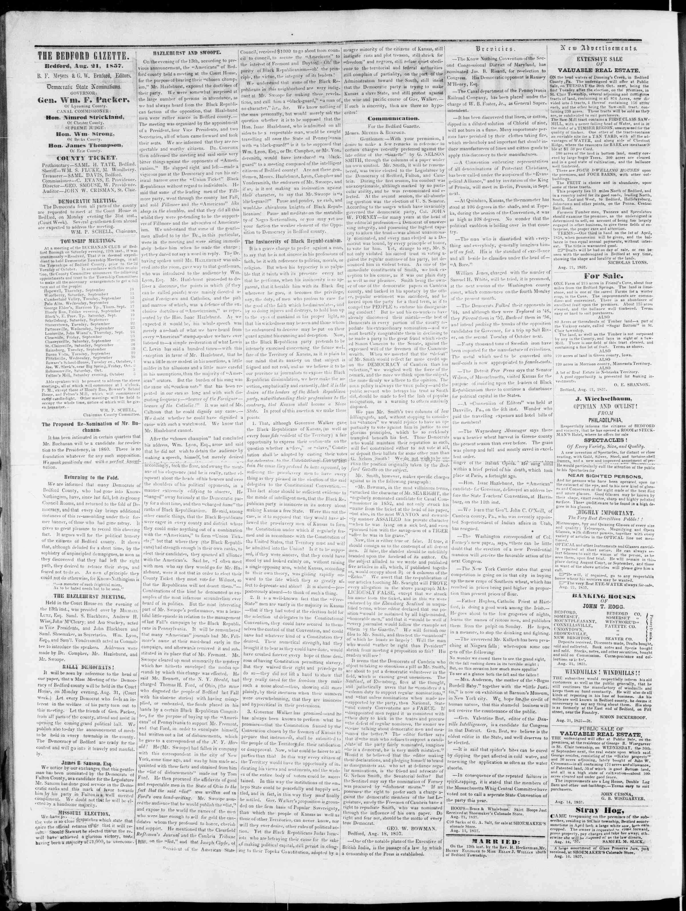 Newspaper of Bedford Gazette dated August 21, 1857 Page 2