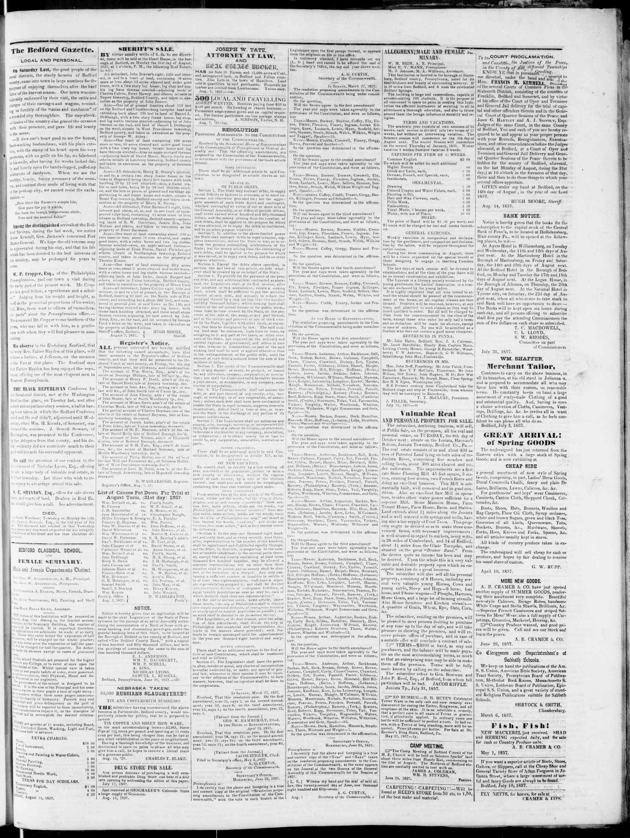 Newspaper of Bedford Gazette dated August 21, 1857 Page 3